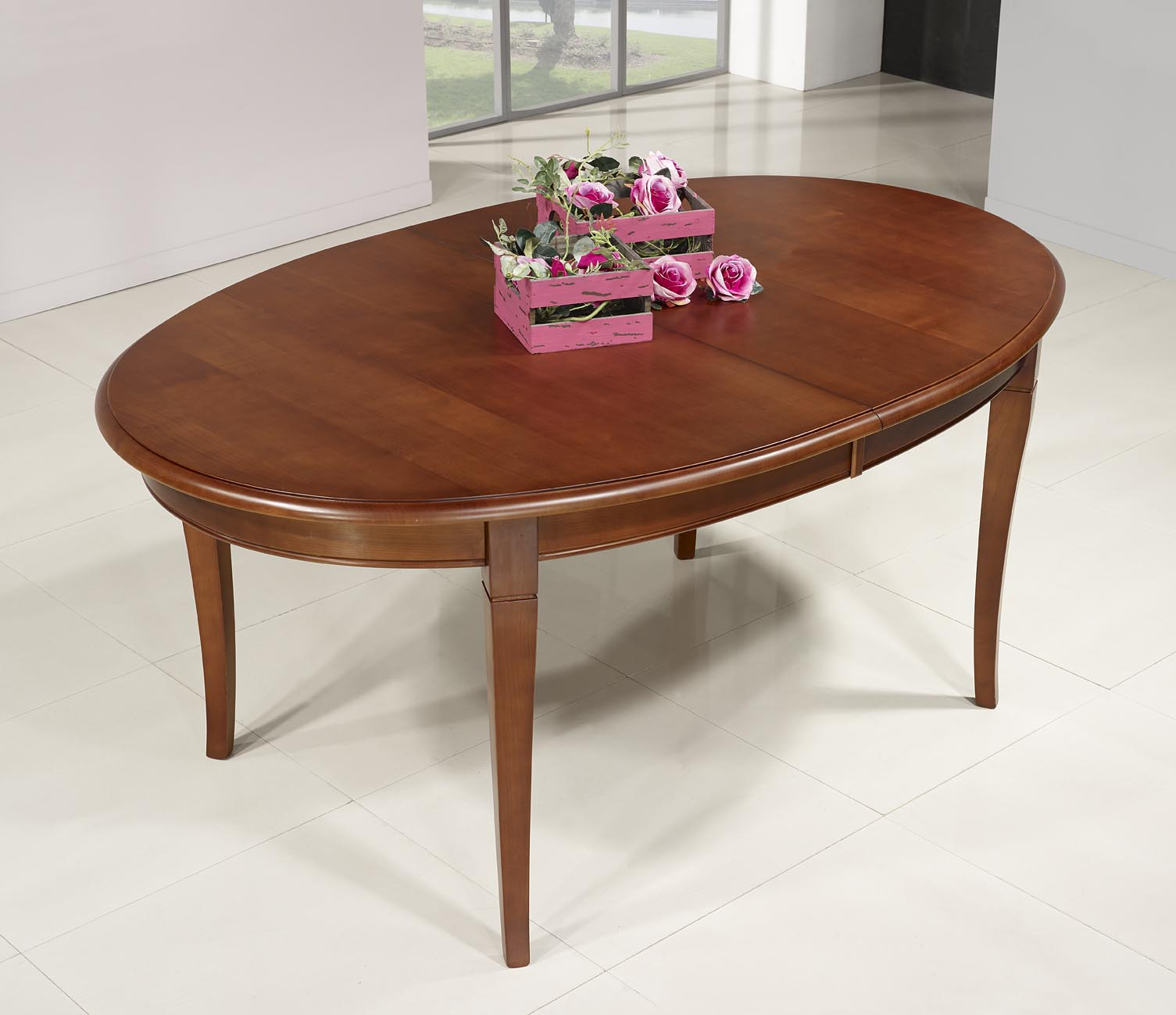 Table ovale de salle manger estelle en merisier massif de style louis philippe 5 allonges de - Set de table ovale ...