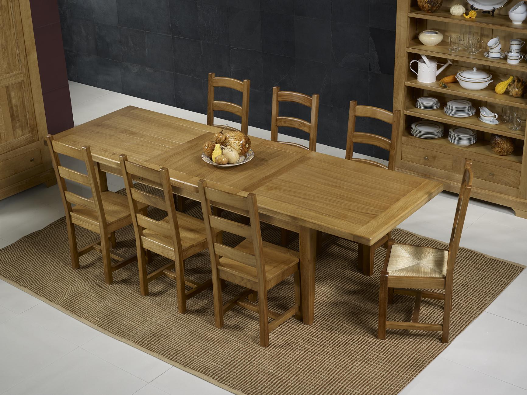 Table de ferme rectangulaire francois en ch ne massif 220 for Table en chene massif avec rallonges