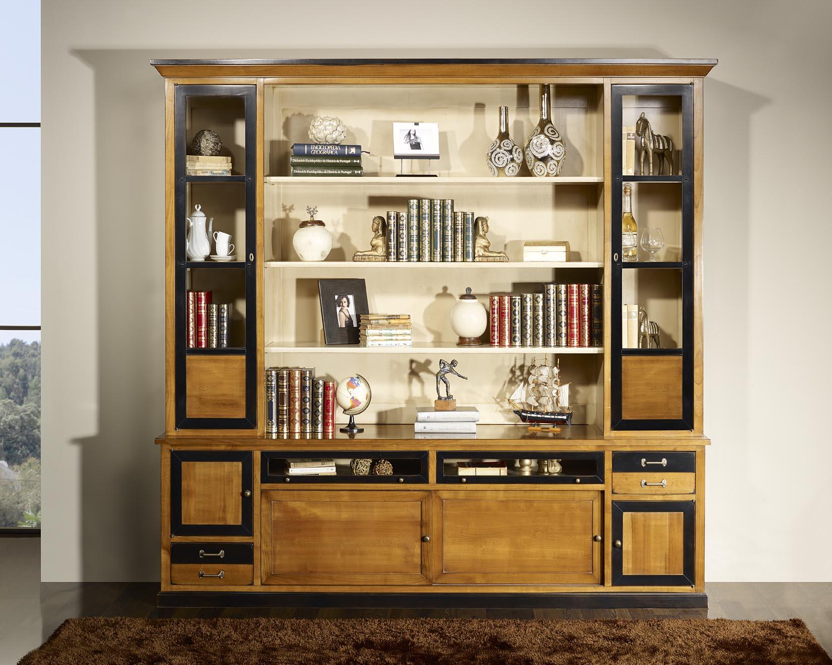 Biblioth que 2 corps louison en merisier massif de style for Meuble bibliotheque bois massif