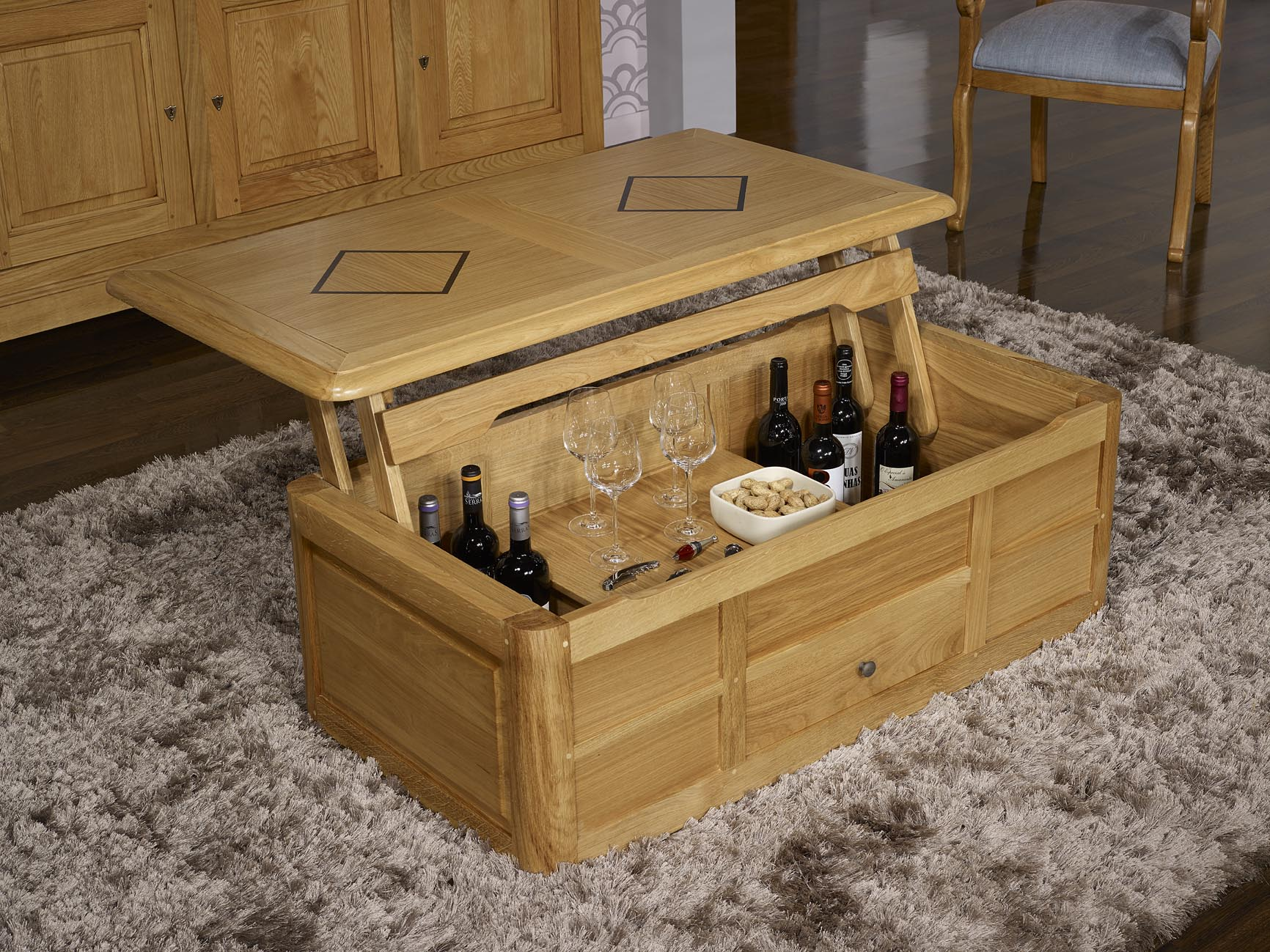 Table basse bar hugo en ch ne de style louis philippe 1 seule disponible me - Table ronde transformable ...