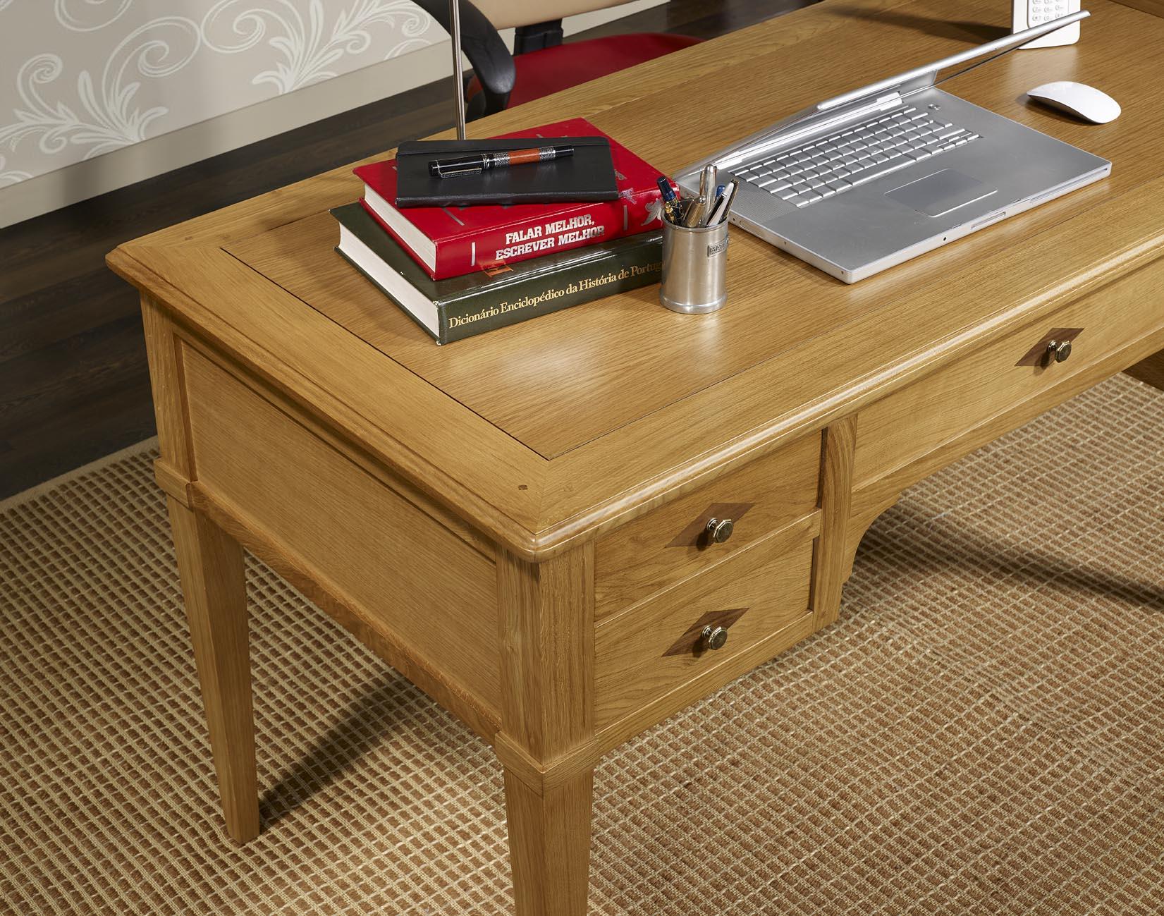 bureau ministre 5 tiroirs jean christian en ch ne de style directoire meuble en ch ne massif. Black Bedroom Furniture Sets. Home Design Ideas