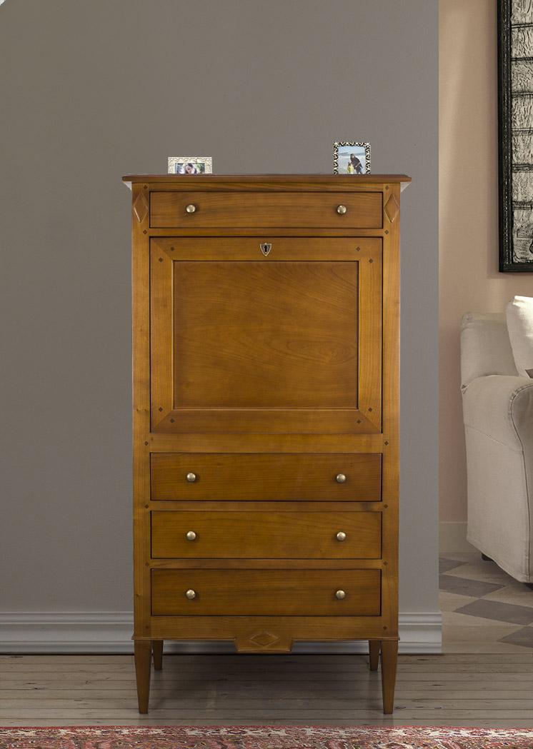 Secr taire 4 tiroirs en merisier de style directoire - Secretaire en pin massif ...