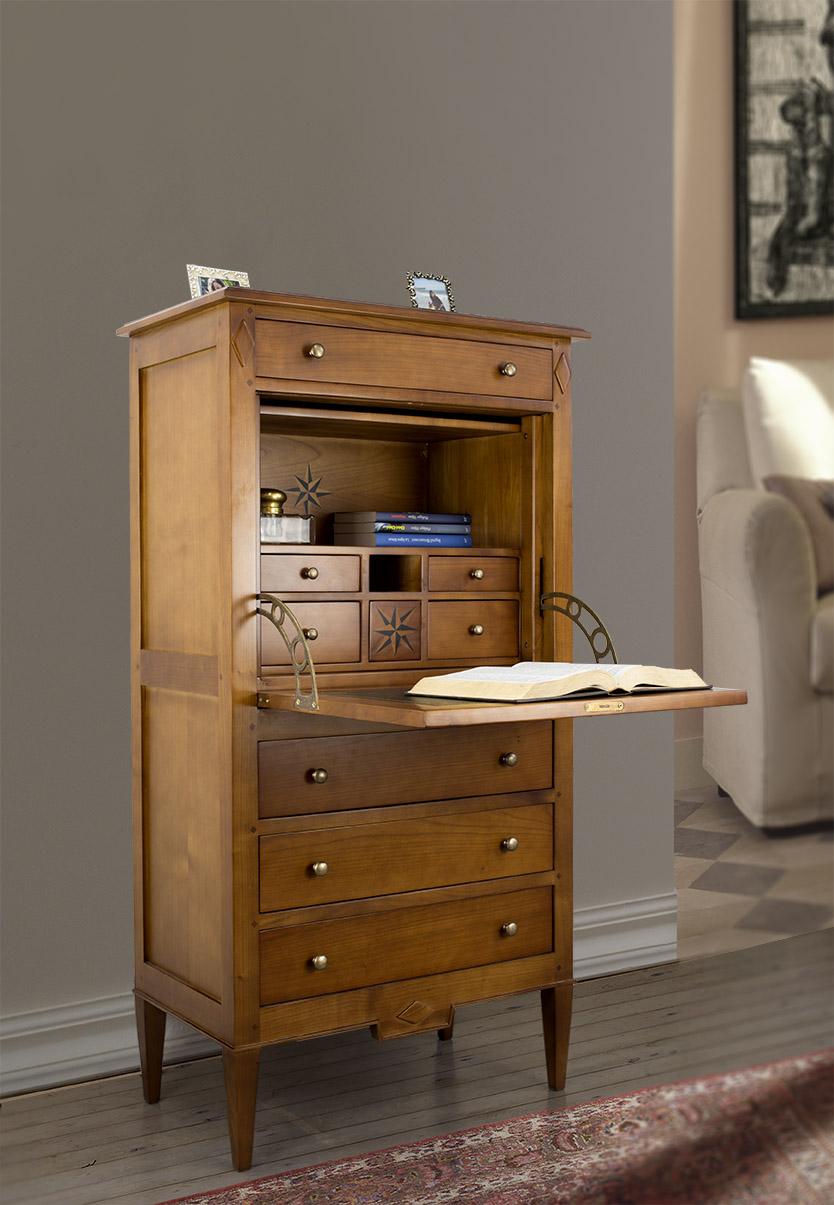 secr taire 4 tiroirs en merisier de style directoire meuble en merisier massif. Black Bedroom Furniture Sets. Home Design Ideas