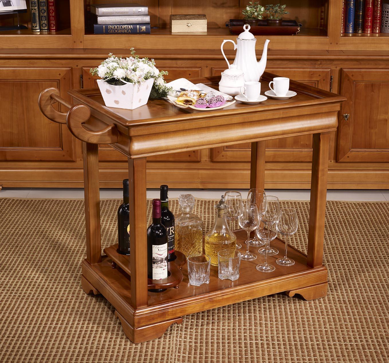 table desserte roulante en merisier de style louis philippe avec 1 tiroir meuble en merisier. Black Bedroom Furniture Sets. Home Design Ideas