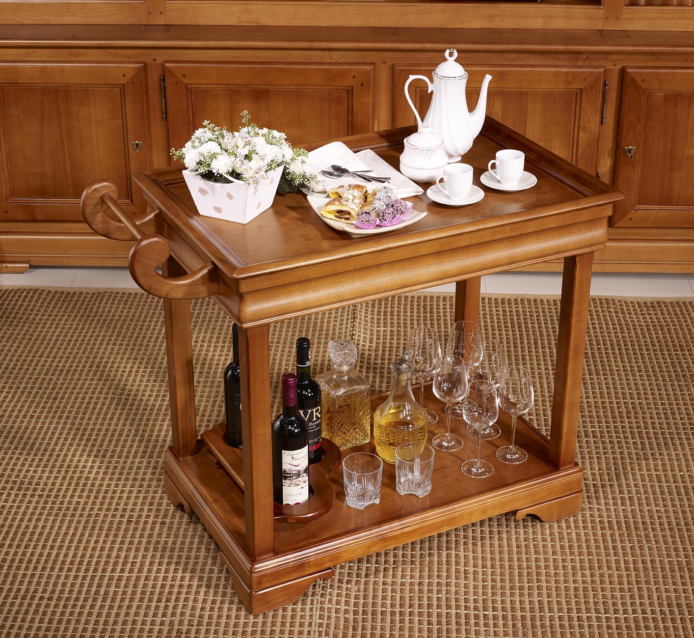 Table desserte roulante en merisier de style louis - Desserte bois massif ...