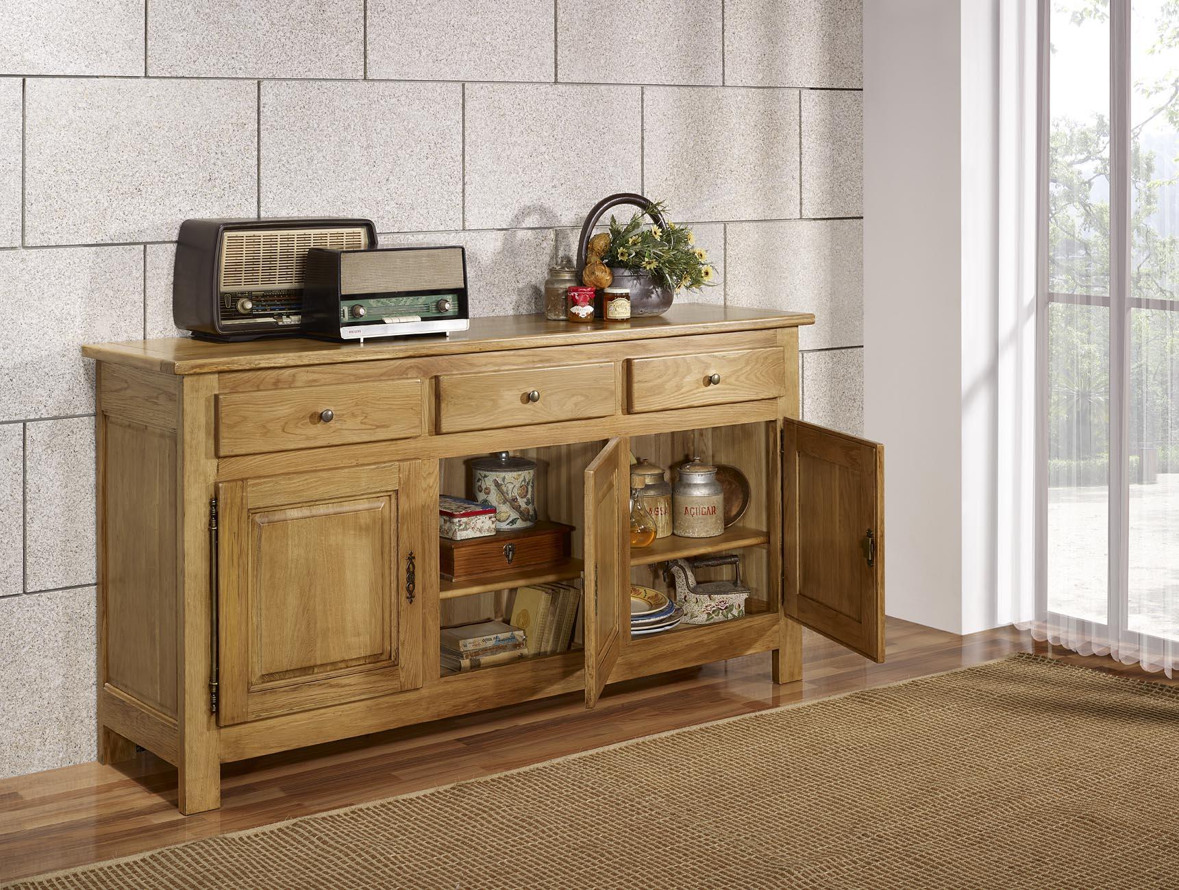 buffet 3 portes 3 tiroirs en ch ne massif de style. Black Bedroom Furniture Sets. Home Design Ideas