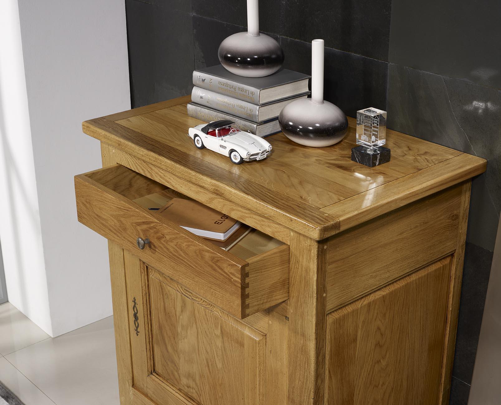 Confitutier 1 porte 1 tiroir en ch ne massif de style - Meuble style campagnard ...