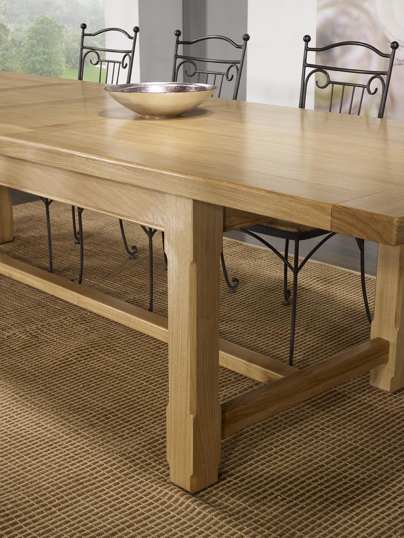 Table de Ferme Axel en Chêne Massif 112x112 + 12 allonges de 12 cm ...