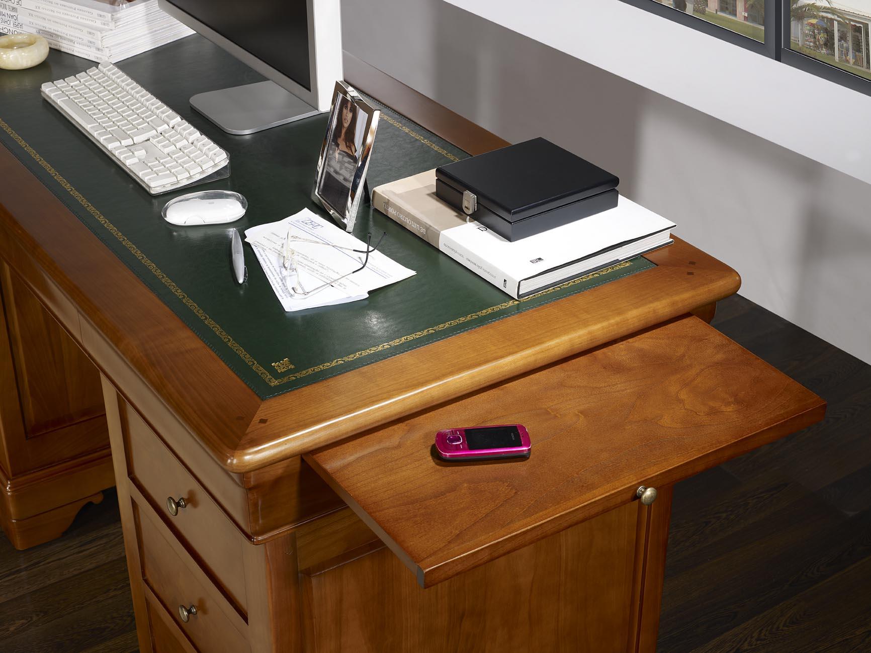 Bureau ministre 9 tiroirs en merisier massif de style for Meuble bureau soldes