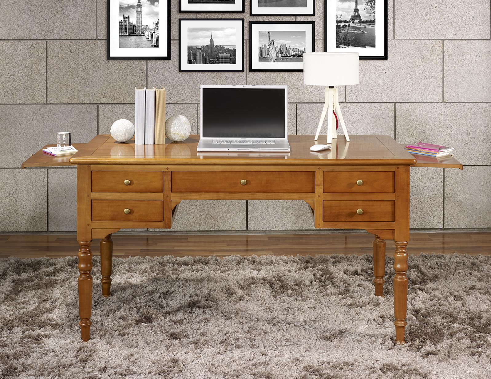 bureau ministre 5 tiroirs en merisier massif de style louis philippe meuble en merisier massif. Black Bedroom Furniture Sets. Home Design Ideas
