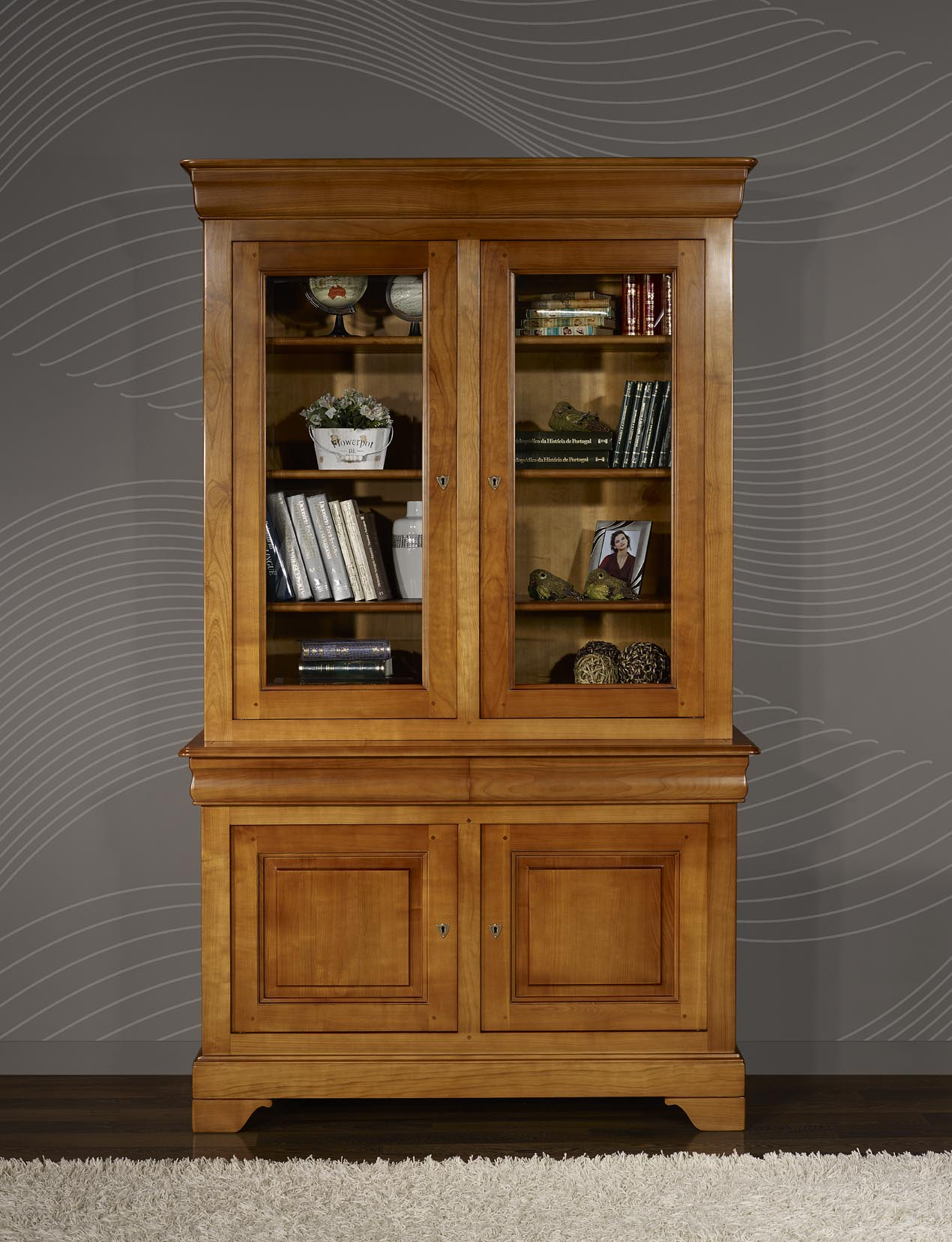 Biblioth que 2 corps 2 portes en merisier massif de style - Meuble merisier massif occasion ...
