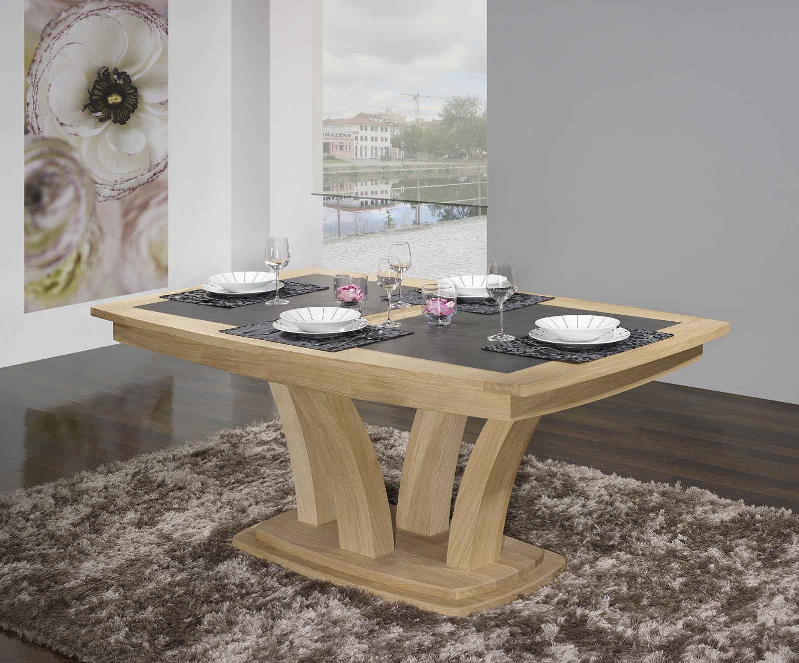 table de repas contemporaine 180x110 en ch ne massif avec c ramique finition ch ne bross. Black Bedroom Furniture Sets. Home Design Ideas