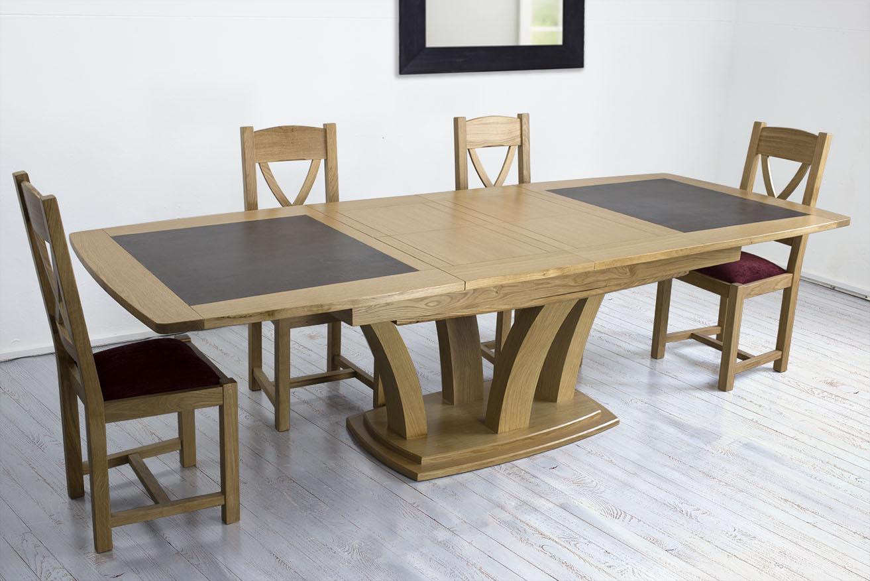 table de repas contemporaine 180x110 en ch ne massif avec c ramique finition ch ne naturel. Black Bedroom Furniture Sets. Home Design Ideas