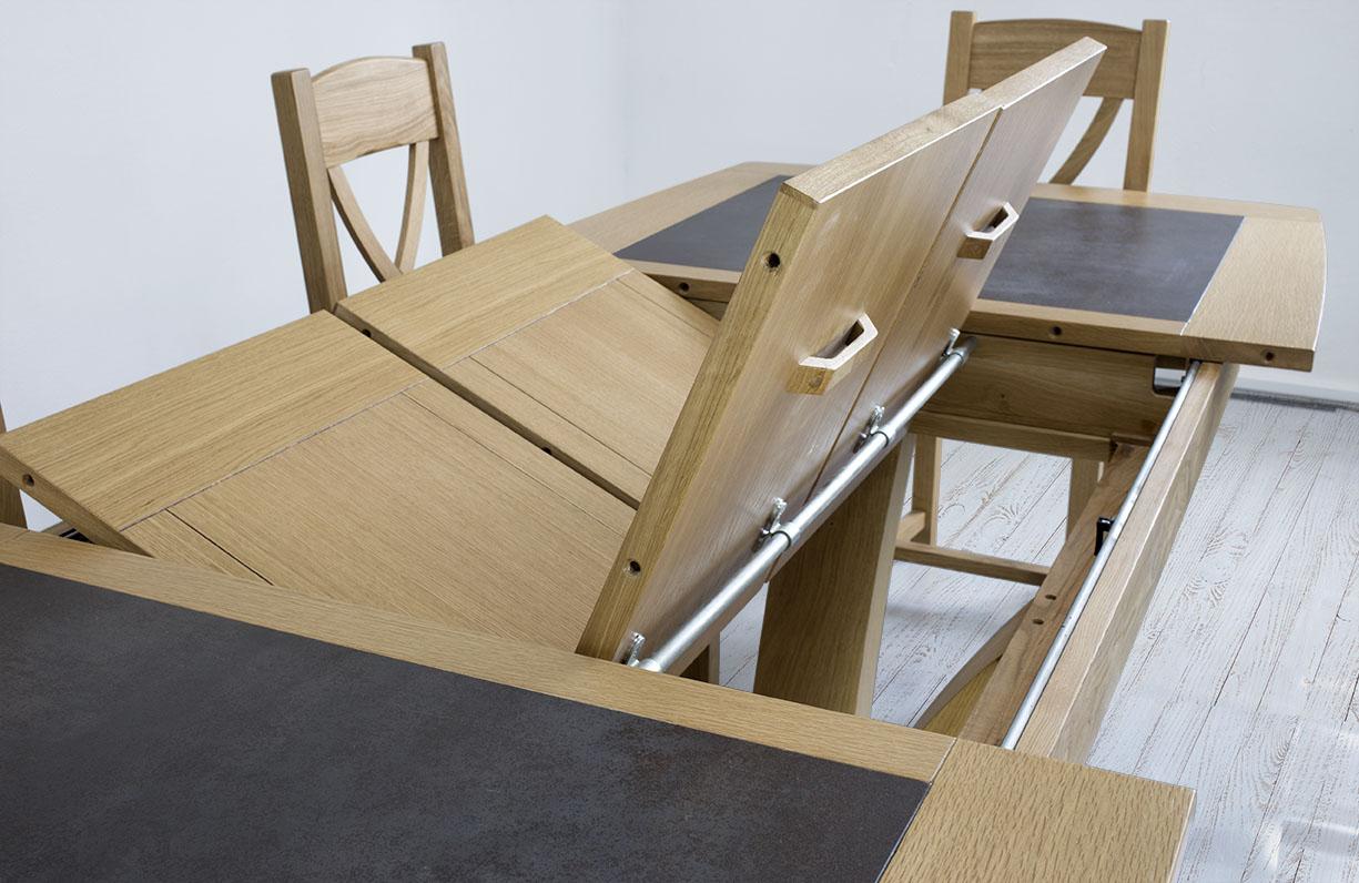 table de repas contemporaine 180x110 en ch ne massif avec. Black Bedroom Furniture Sets. Home Design Ideas