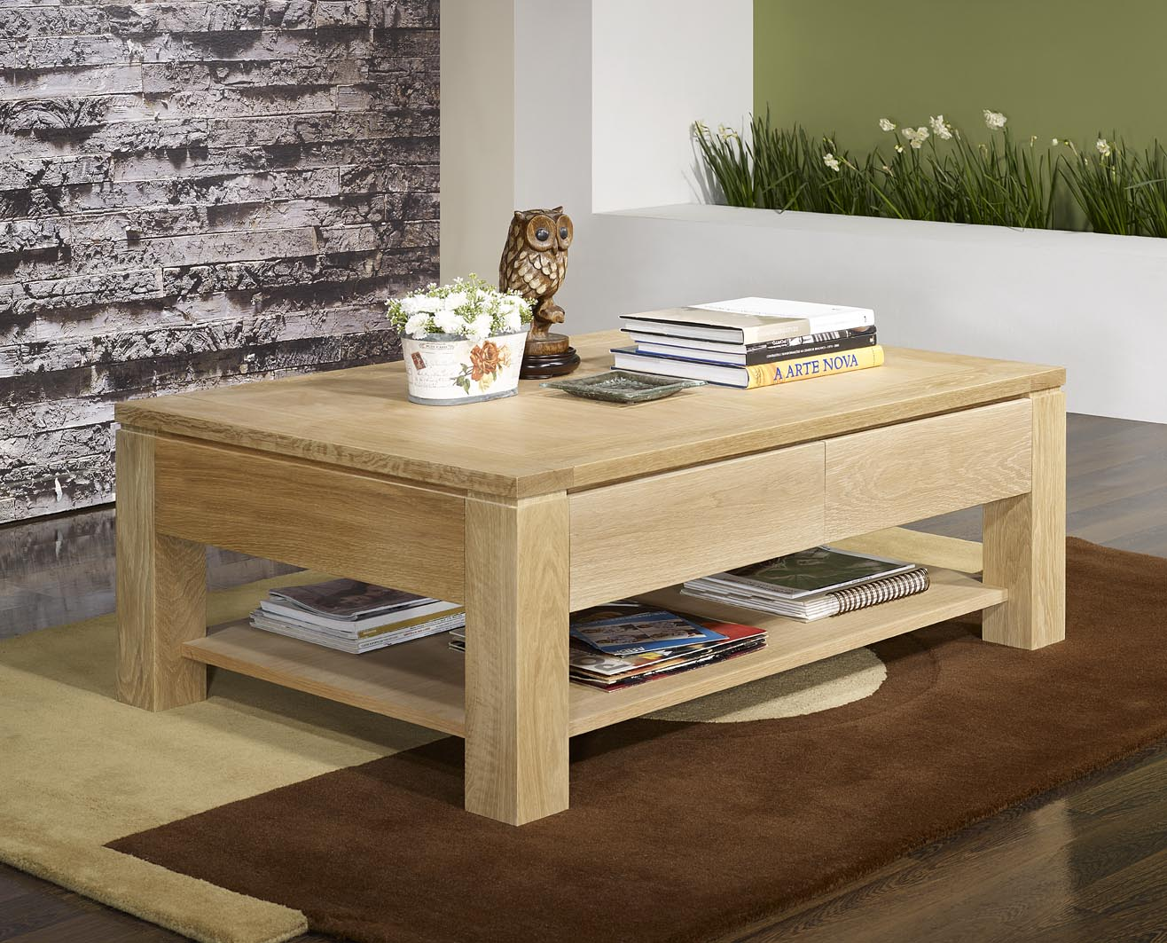 Table basse jean en ch ne massif ligne contemporaine finition ch ne bross largeur 60 cm - Table basse en chene ...