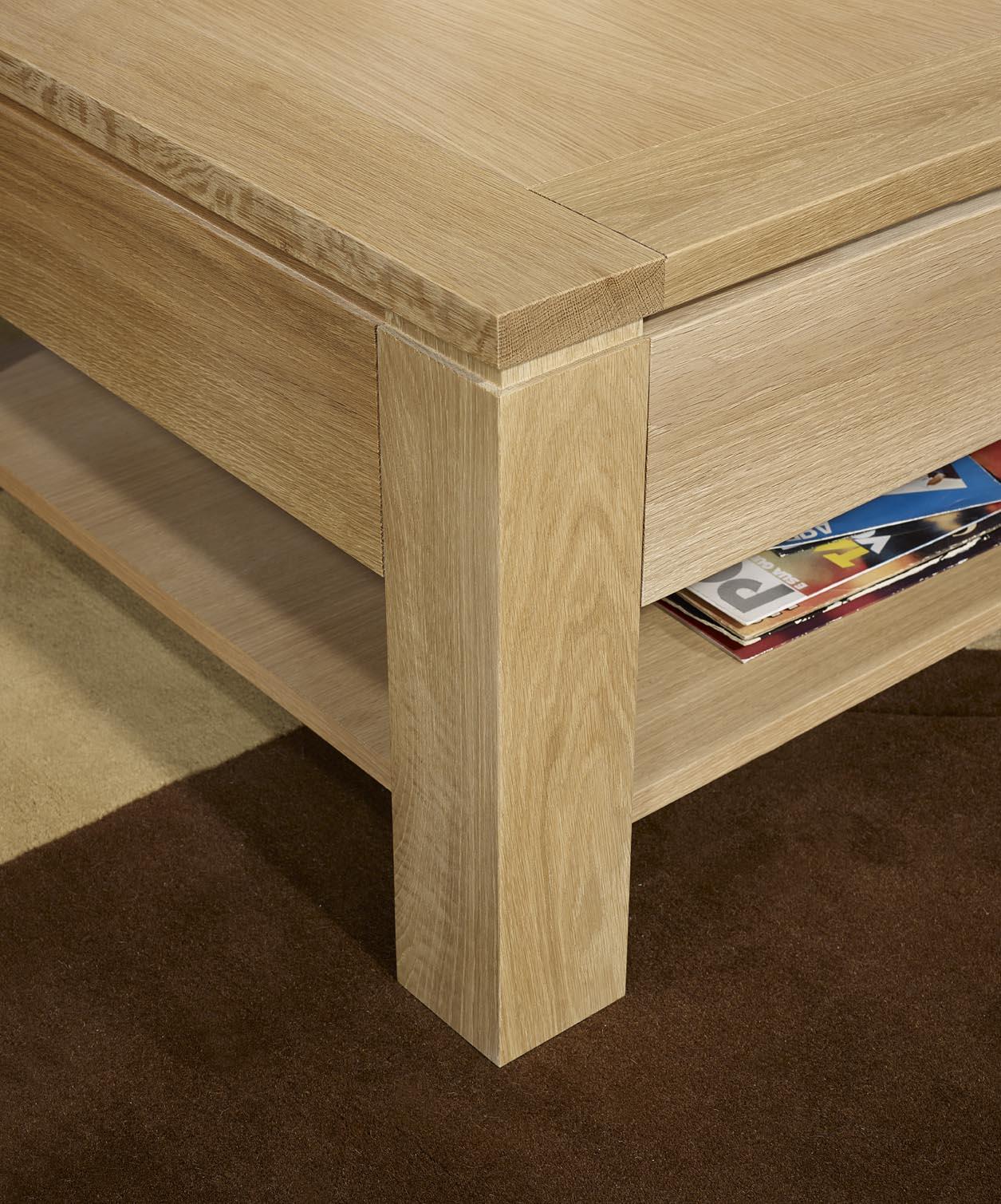 table basse jean en ch ne massif ligne contemporaine finition ch ne bross largeur 60 cm. Black Bedroom Furniture Sets. Home Design Ideas