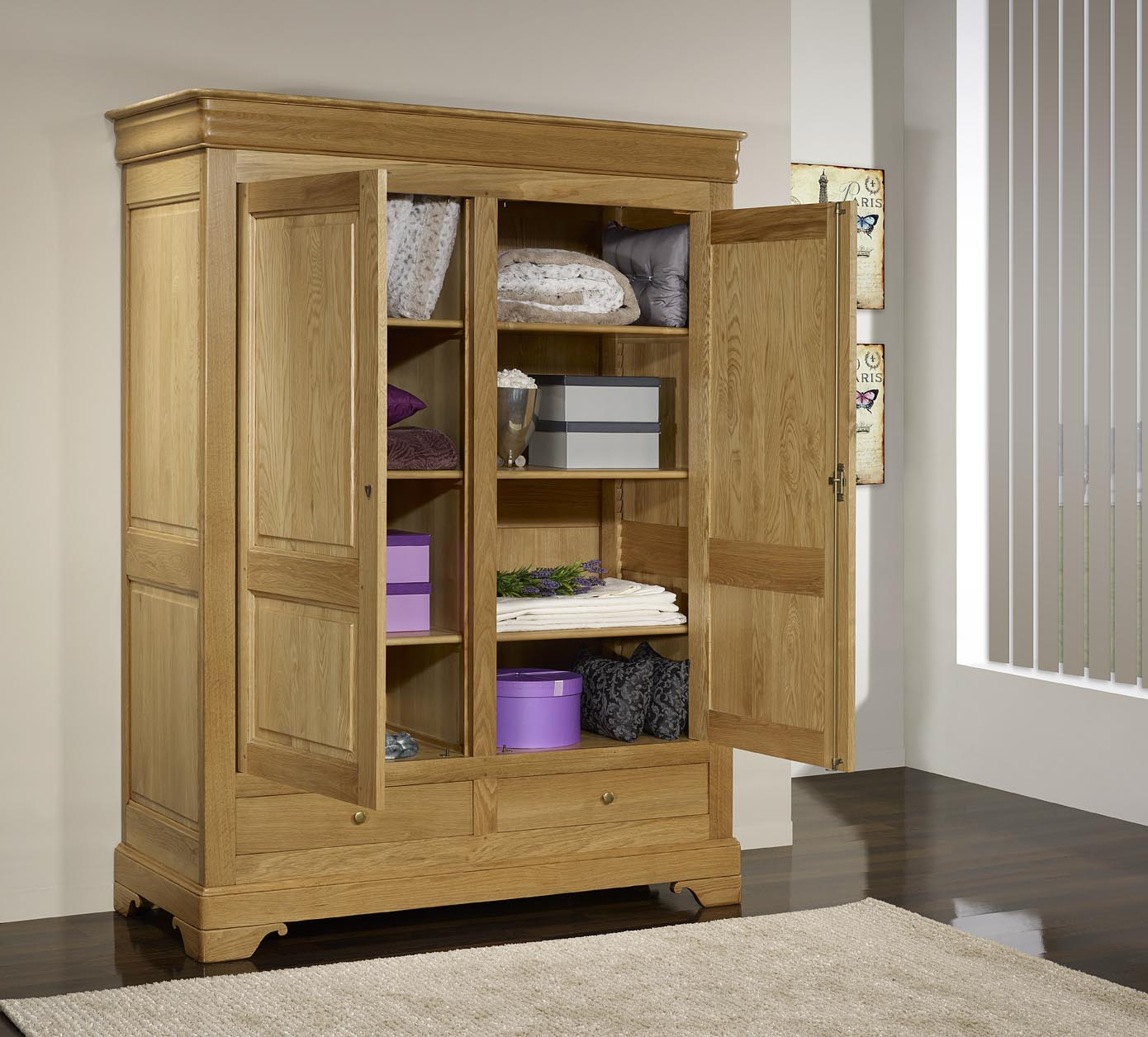 armoire 2 portes 2 tiroirs hugo en ch ne massif de style. Black Bedroom Furniture Sets. Home Design Ideas