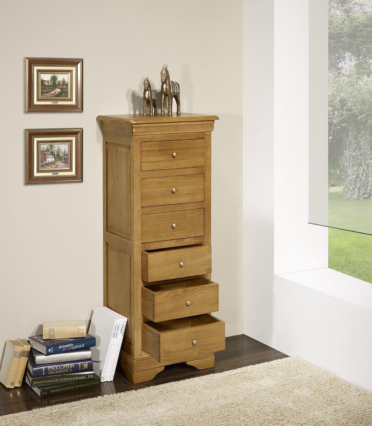 chiffonnier 6 tiroirs benjamin en ch ne massif de style louis philippe meuble en ch ne massif. Black Bedroom Furniture Sets. Home Design Ideas