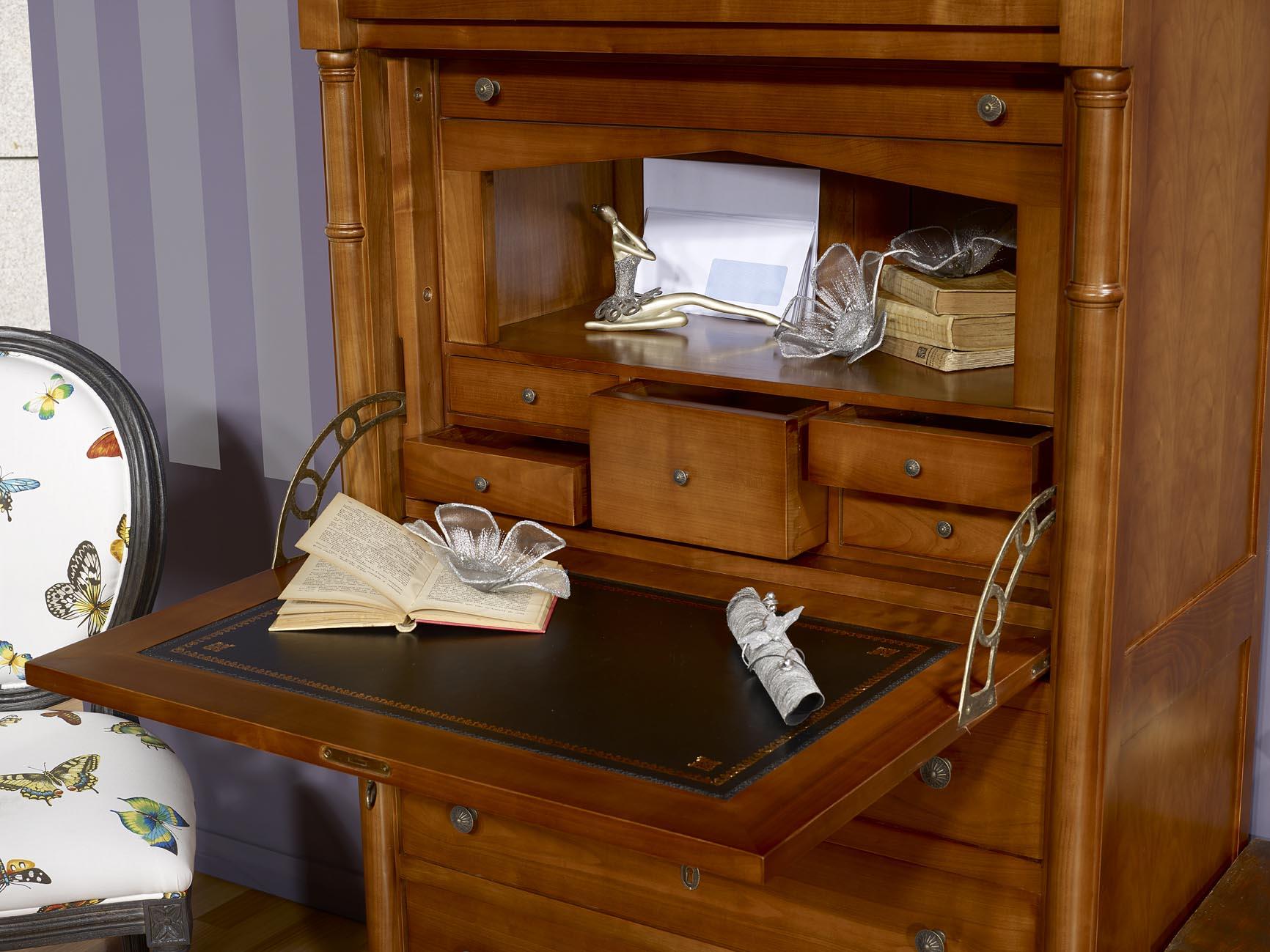 meuble secr taire elise en merisier de style empire meuble en merisier massif. Black Bedroom Furniture Sets. Home Design Ideas