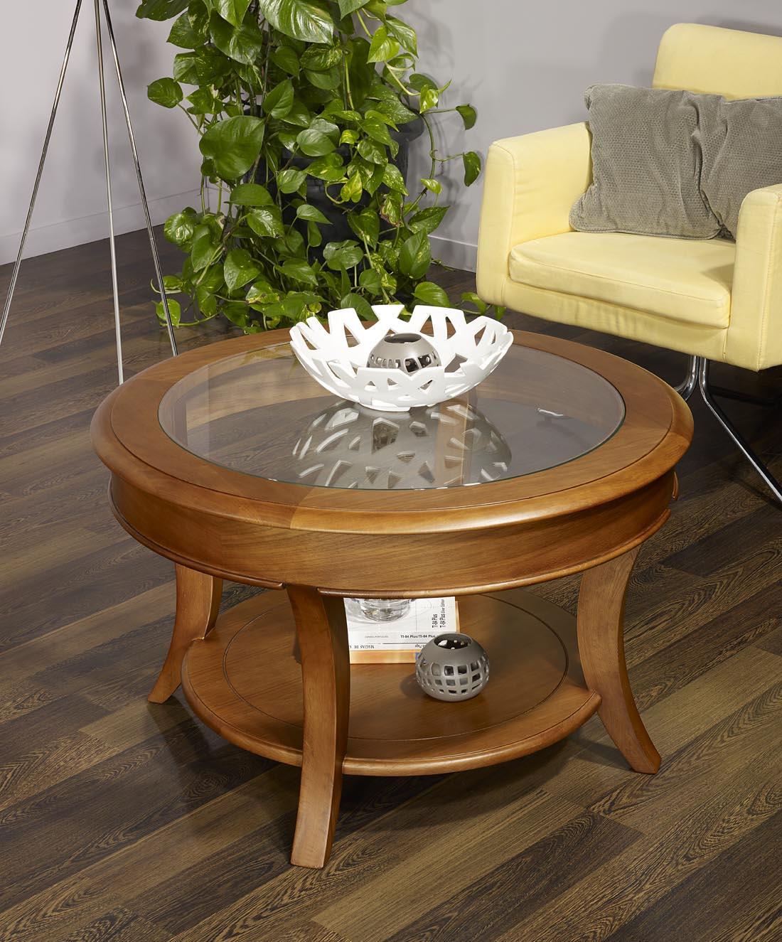Table basse ronde ga l en ch ne massif de style louis - Table basse chene et verre ...