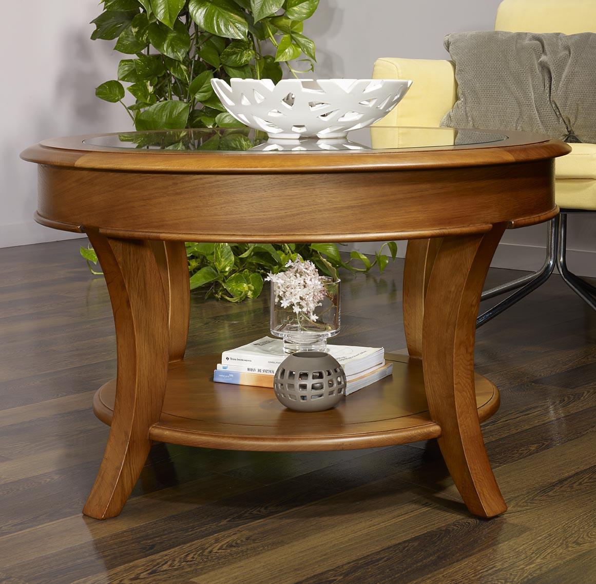 Table basse ronde ga l en ch ne massif de style louis philippe plateau verre - Table basse ronde chene ...