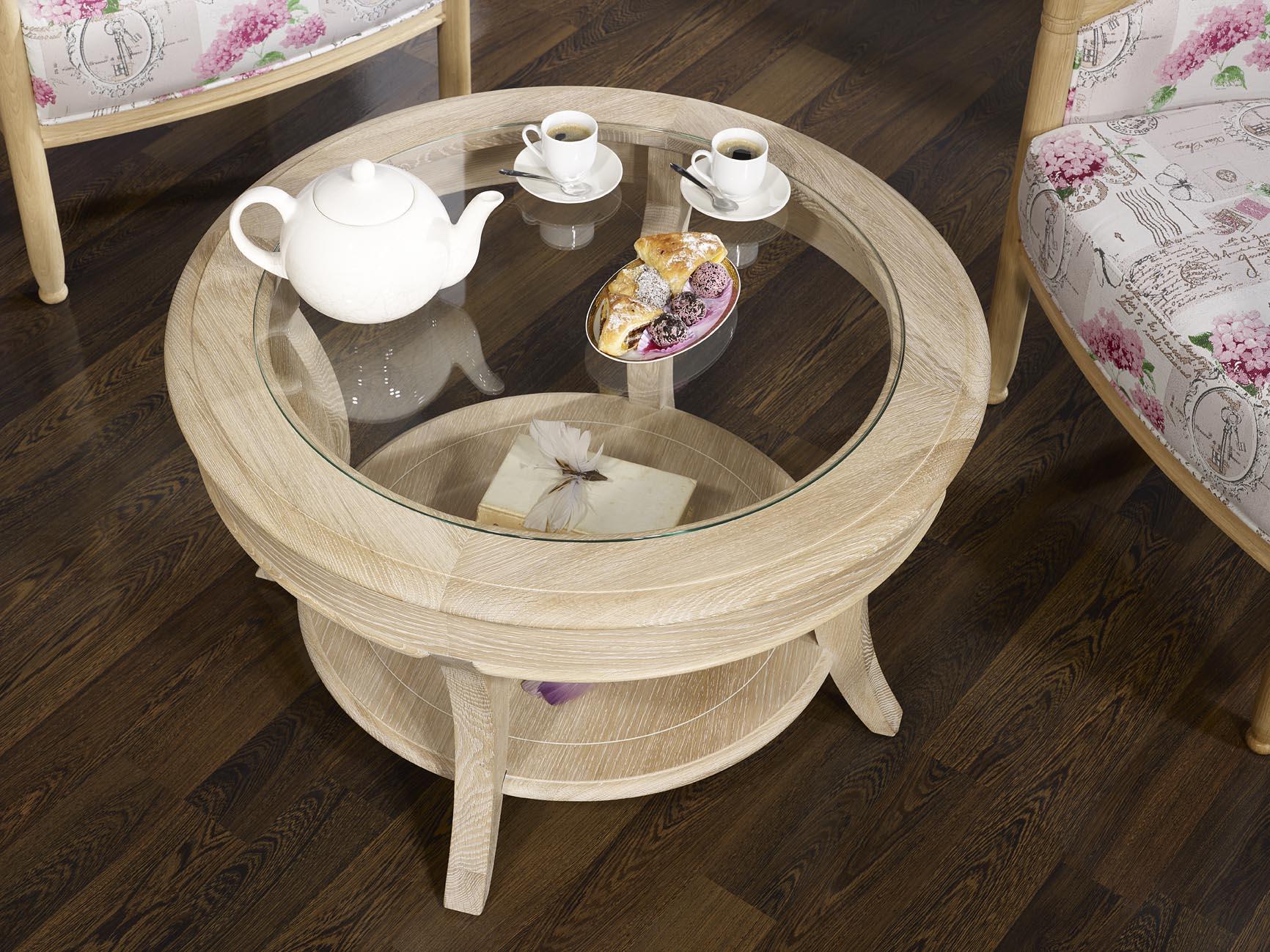 Table basse ronde ga l en ch ne massif de style louis for Table basse scandinave ronde copenhague 80