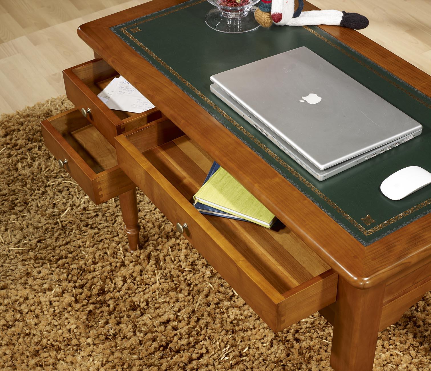 bureau 1 2 ministre en merisier massif de style louis philippe finition merisier dor patin l. Black Bedroom Furniture Sets. Home Design Ideas