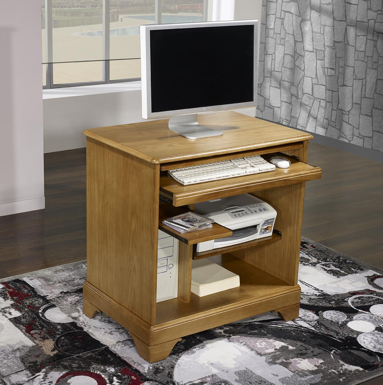 petit bureau informatique en ch ne de style louis philippe. Black Bedroom Furniture Sets. Home Design Ideas