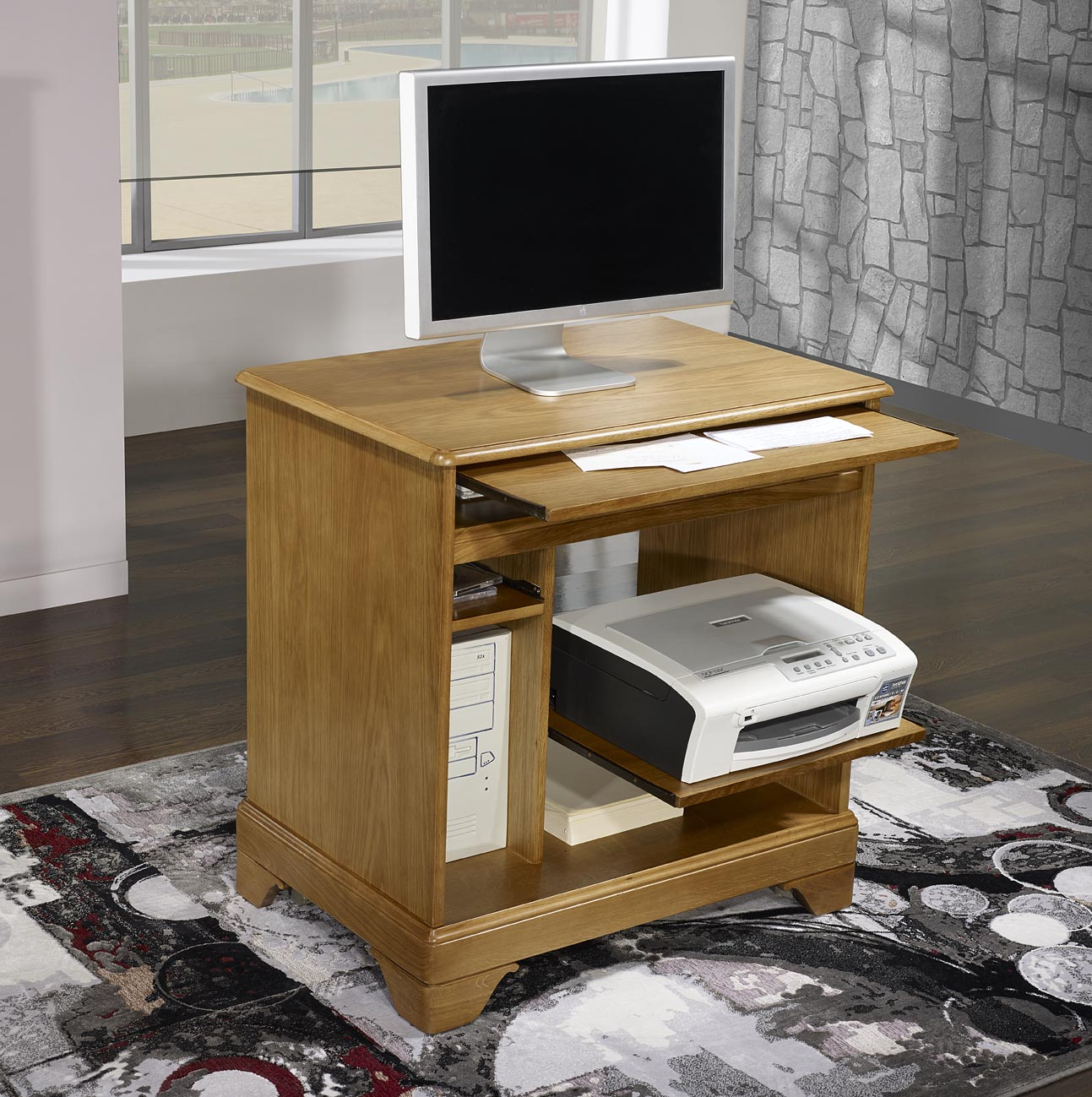 Petit bureau informatique en ch ne de style louis philippe for Meuble bureau informatique but