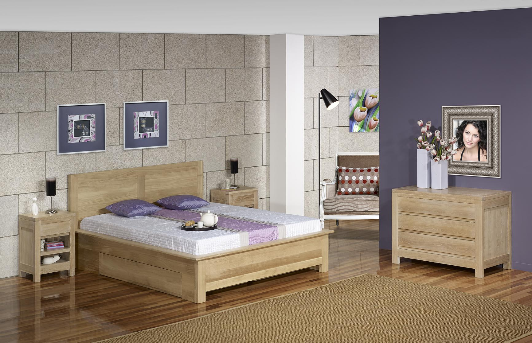 lit collection nature 160 200 en ch ne massif avec tiroirs finition ch ne bross meuble en. Black Bedroom Furniture Sets. Home Design Ideas