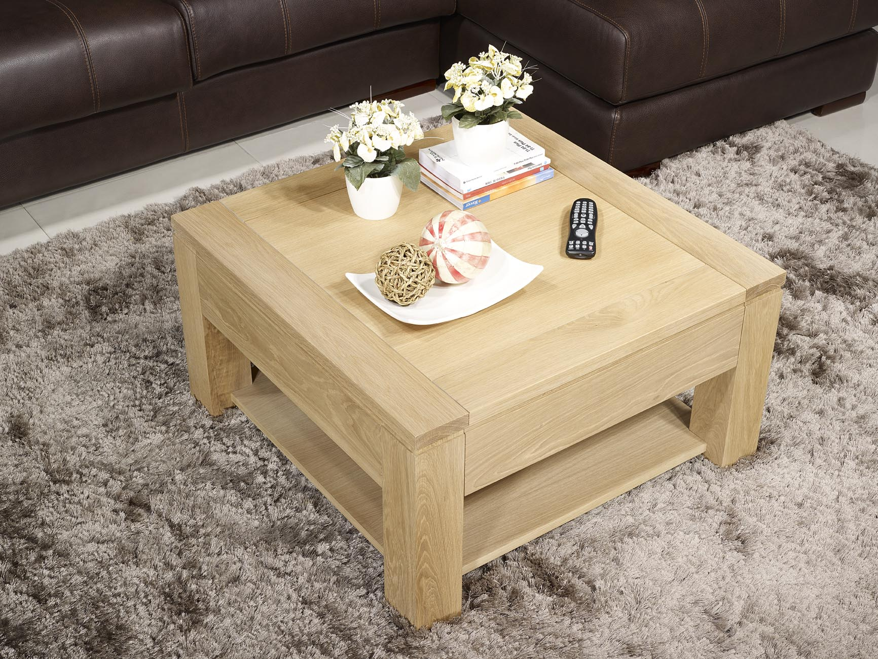 Table basse jean en ch ne massif ligne contemporaine finition ch ne bross - Table basse carree chene massif ...