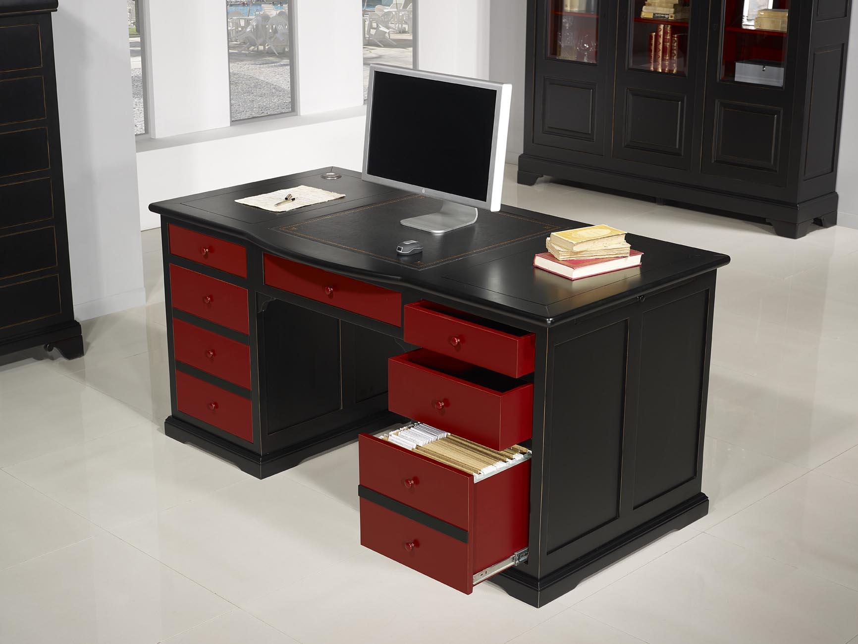 Meuble de bureau noir bureau moderne pas cher abi29
