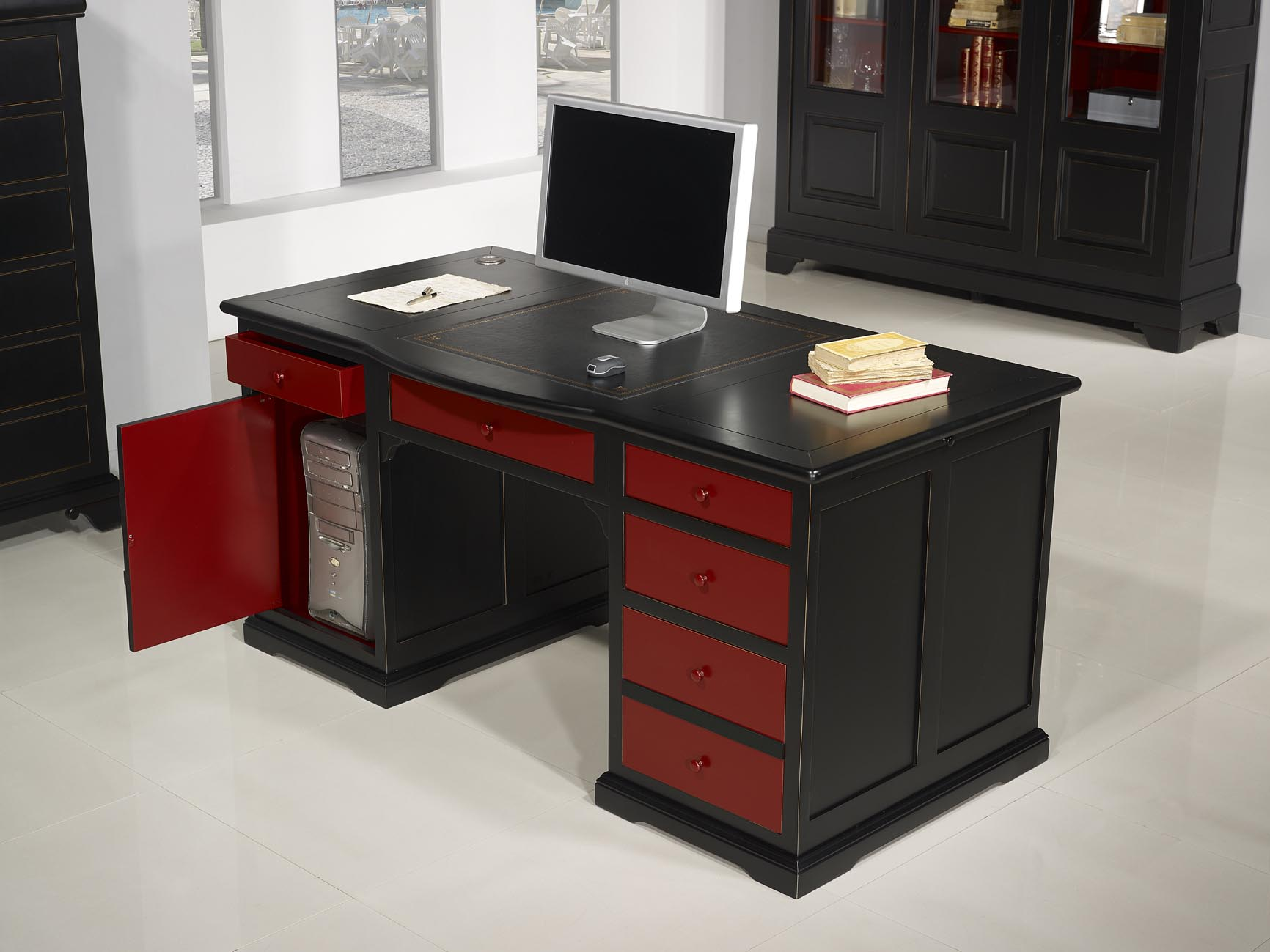 superbe bureau ministre sp cial informatique en merisier de style louis philippe patin noir et. Black Bedroom Furniture Sets. Home Design Ideas