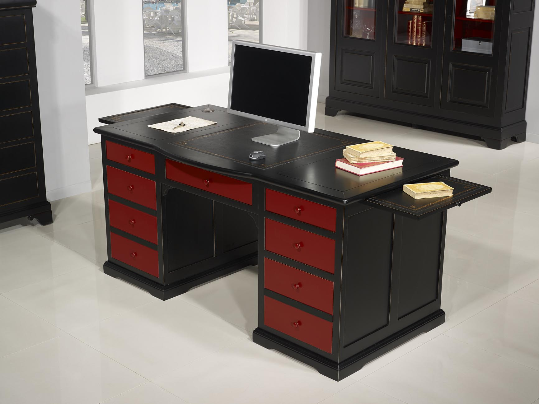 superbe bureau ministre sp cial informatique en merisier de style louis philippe patin noir et. Black Bedroom Furniture Sets. Home Design Ideas