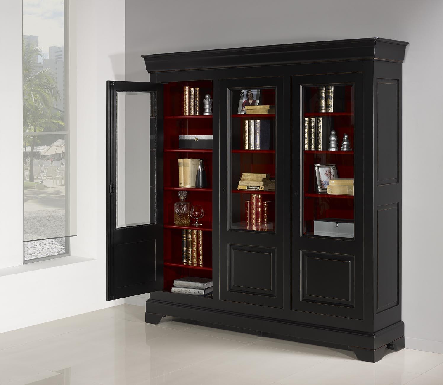 Biblioth Que 3 Portes Flore En Merisier Massif De Style Louis  # Bibliotheque Directoire Avec Etageres En Merisier