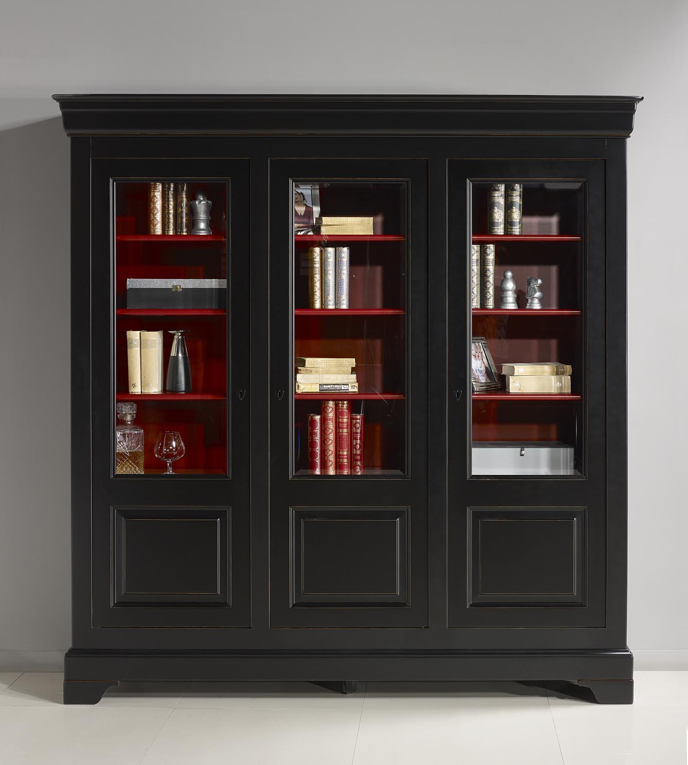 Biblioth que 3 portes flore en merisier massif de style louis philippe patin noir et rouge - Relooker une bibliotheque en merisier ...