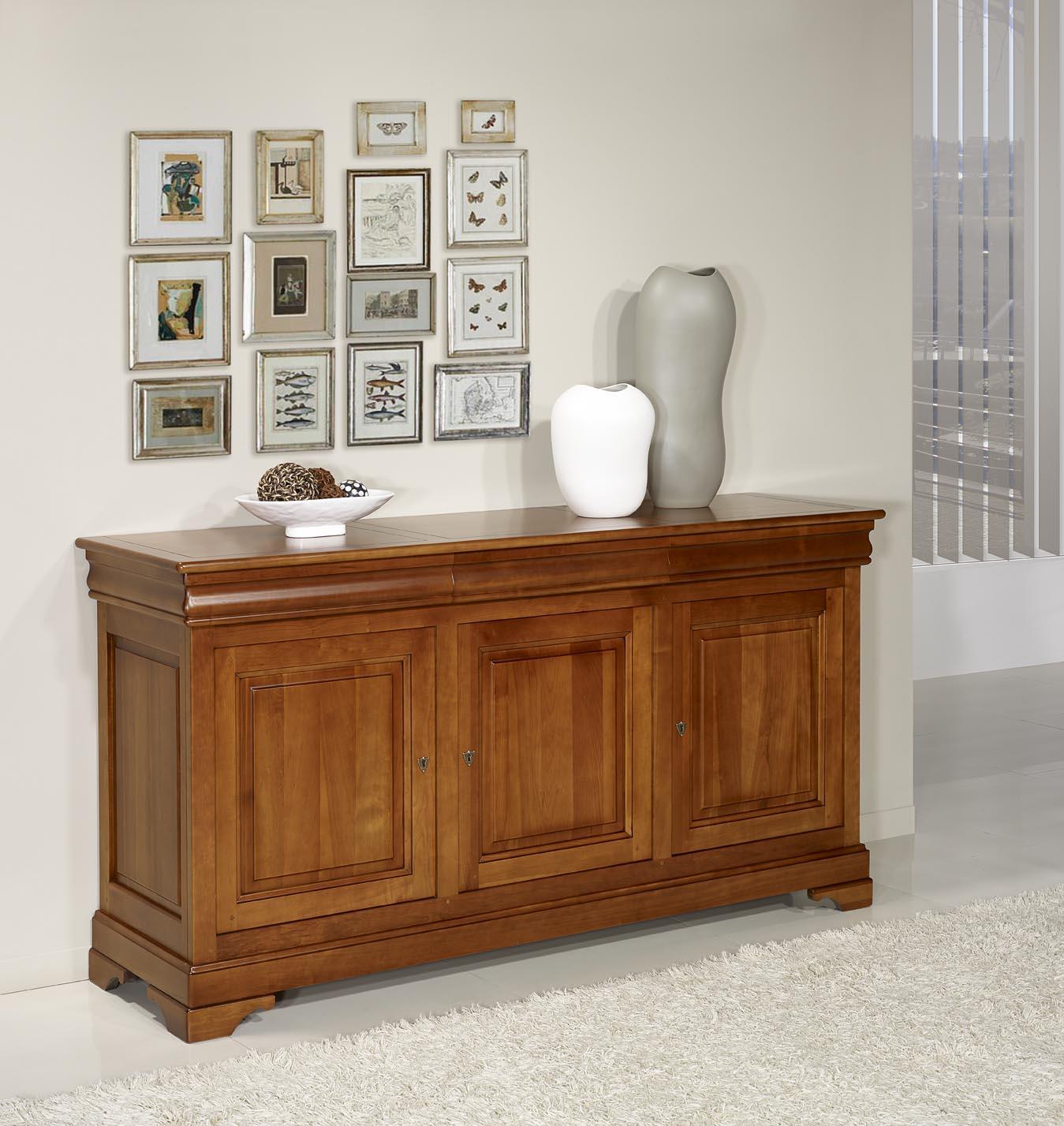 Buffet 3 portes 3 tiroirs en merisier massif de style louis philippe meuble en merisier massif - Petit meuble merisier louis philippe ...
