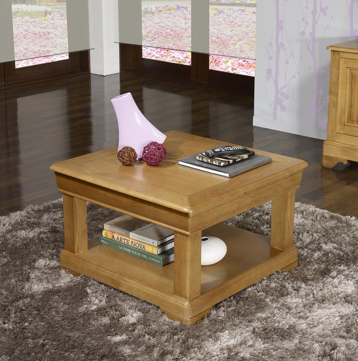 Table Basse Carr E Ines 65×65 En Ch Ne De Style Louis Philippe  # Classeur De Salon En Bois