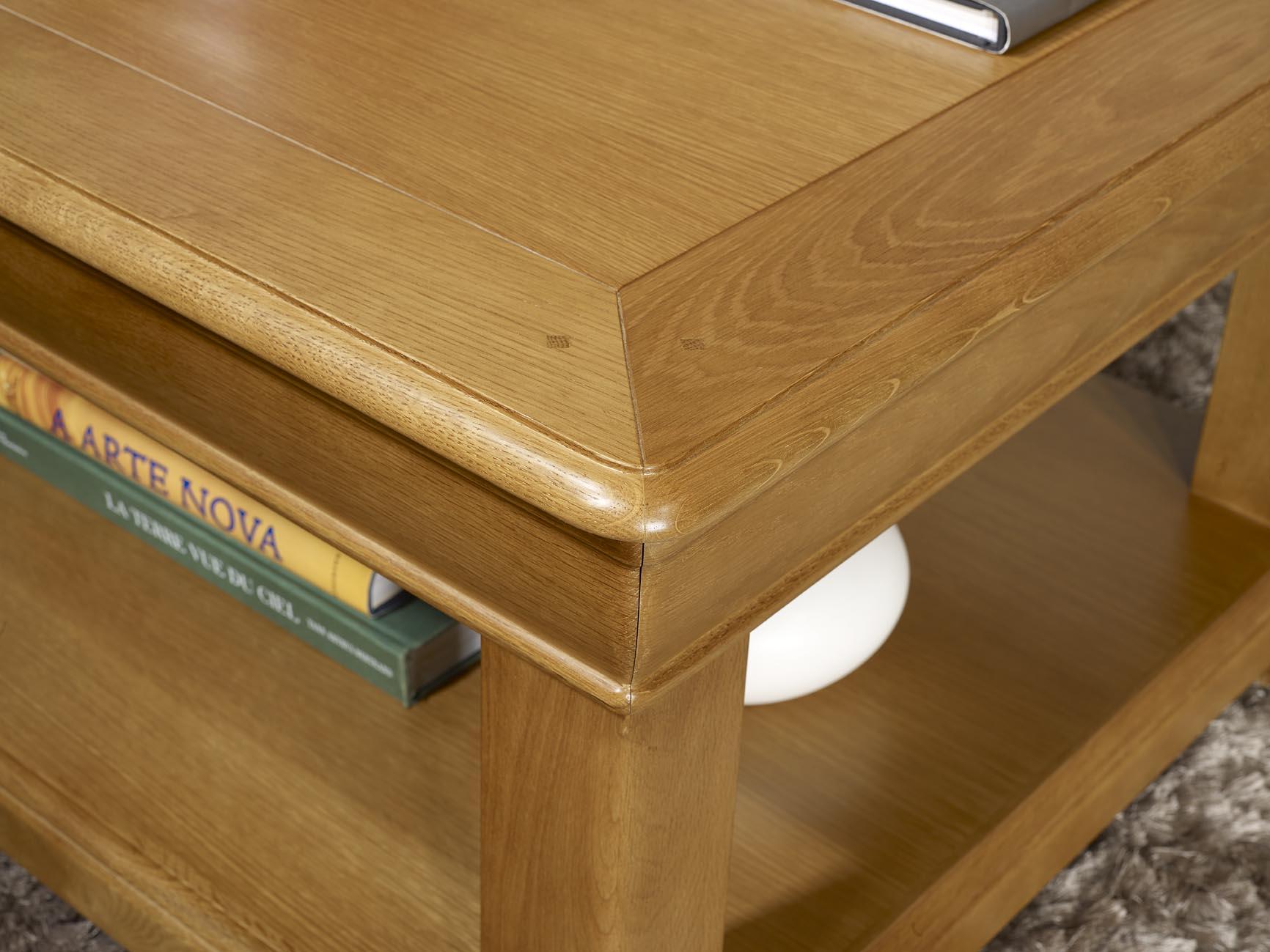 Table basse carr e 80x80 en ch ne de style louis philippe - Table basse 80x80 ...