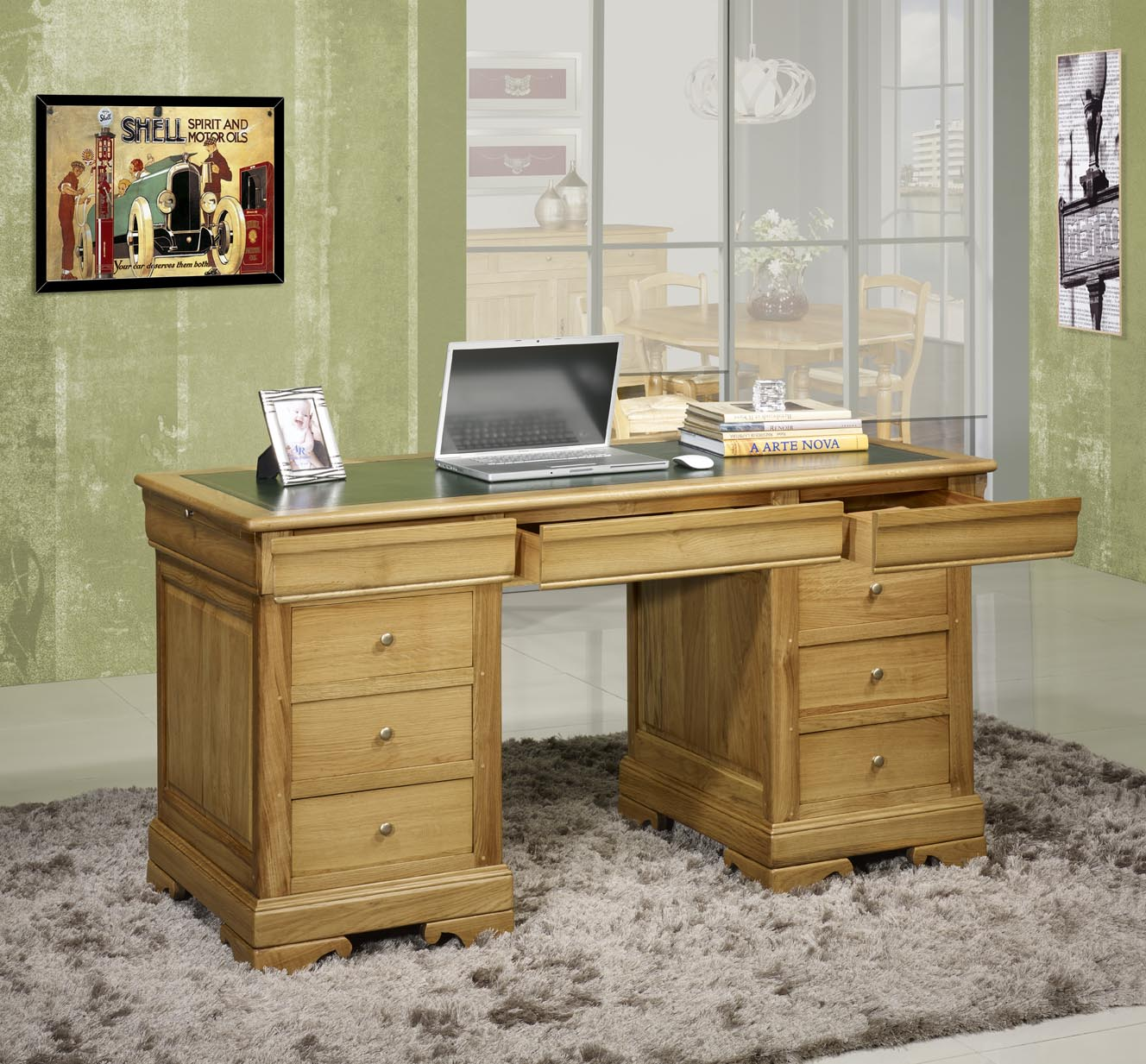 bureau ministre 9 tiroirs jean baptiste en ch ne massif de. Black Bedroom Furniture Sets. Home Design Ideas