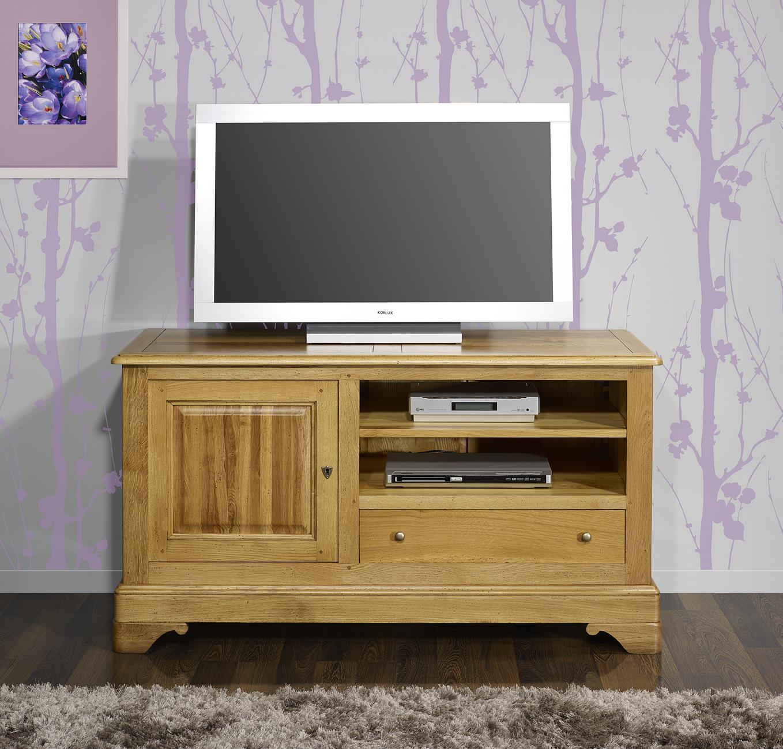 Meuble Tv 16 9 Me En Ch Ne Massif De Style Louis Philippe Finition  # Meuble Tv D'Angle Patinee