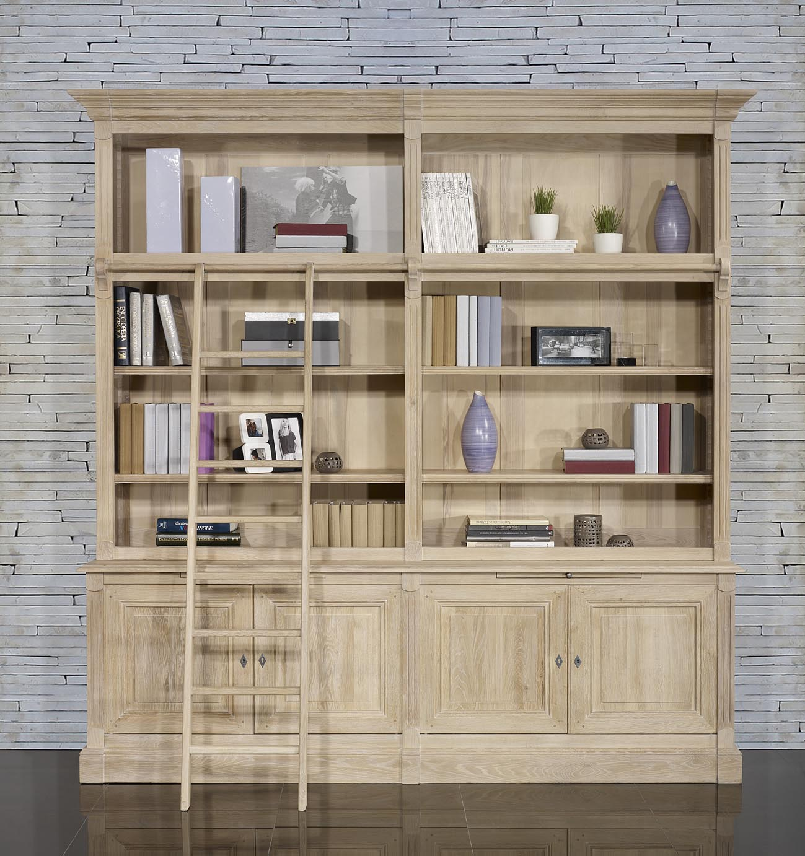 Bibliothèque Corps Portes En Chêne Massif De Style Directoire - Bibliothèque avec porte