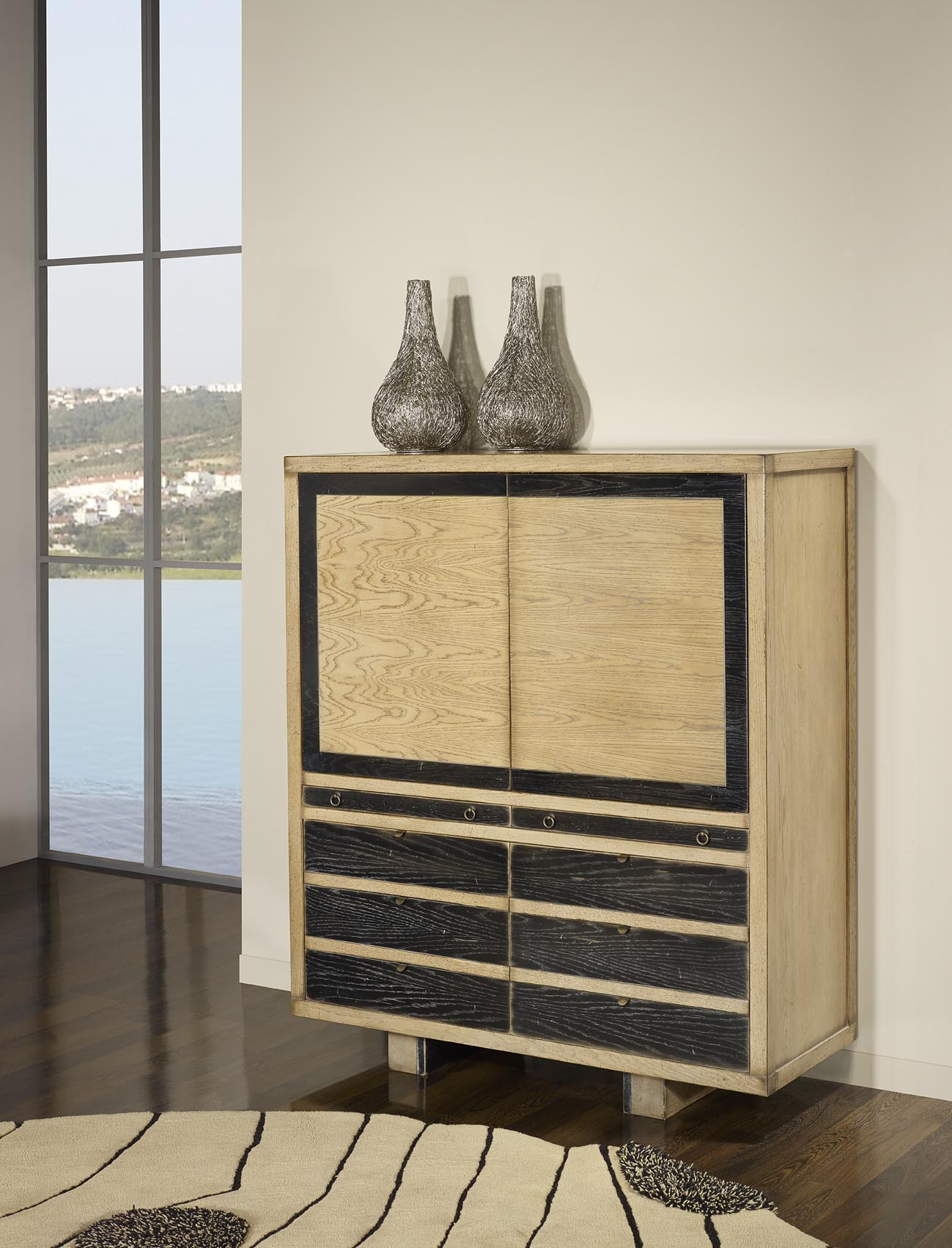 Bahut 4 portes 2 tiroirs en ch ne massif de style contemporain vintage meub - Bahut bois massif contemporain ...