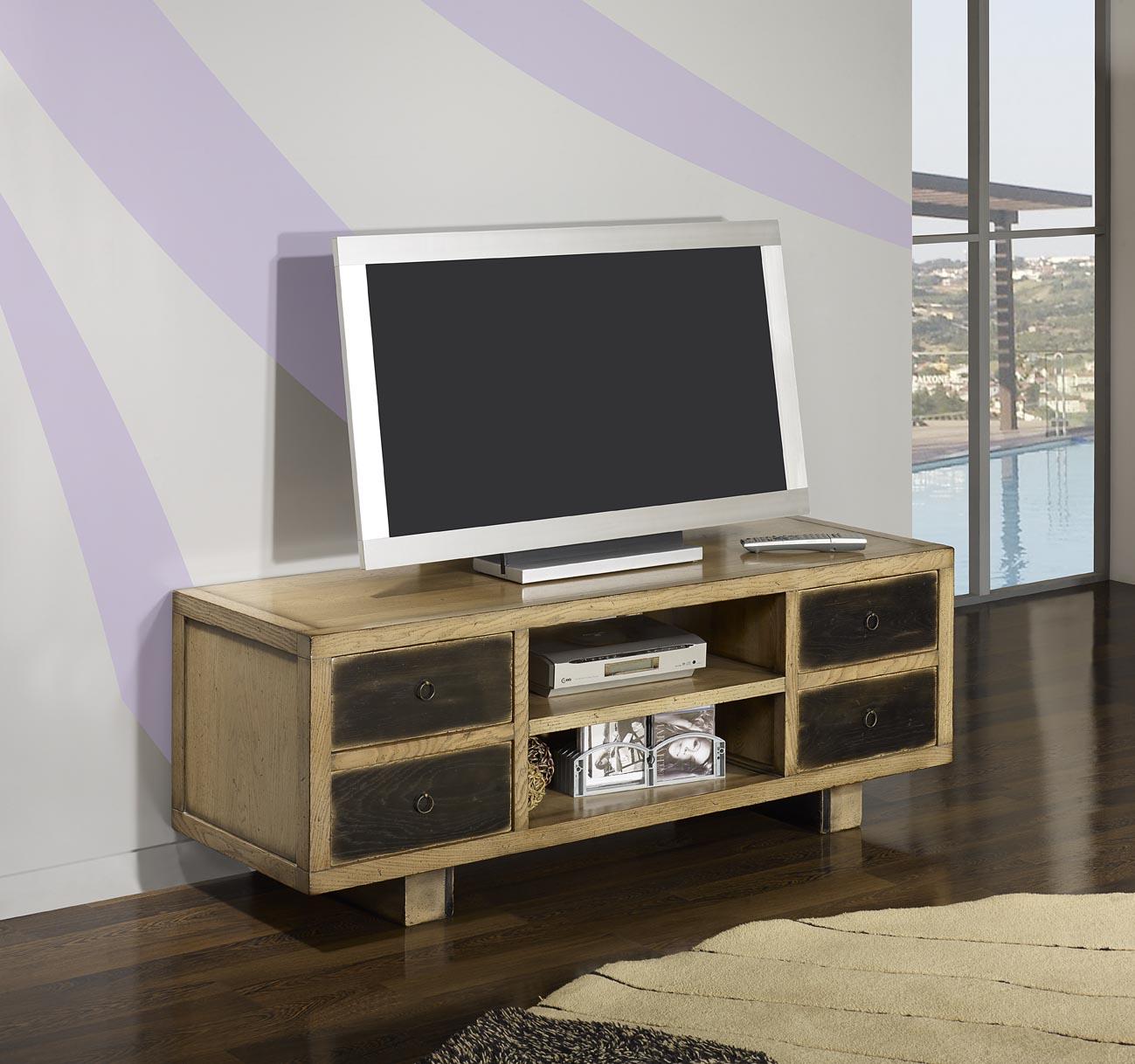 Meuble Tv Vintage 4 Tiroirs En Ch Ne Massif De Style Contemporain  # Meuble Tv Contemporain Bois Massif