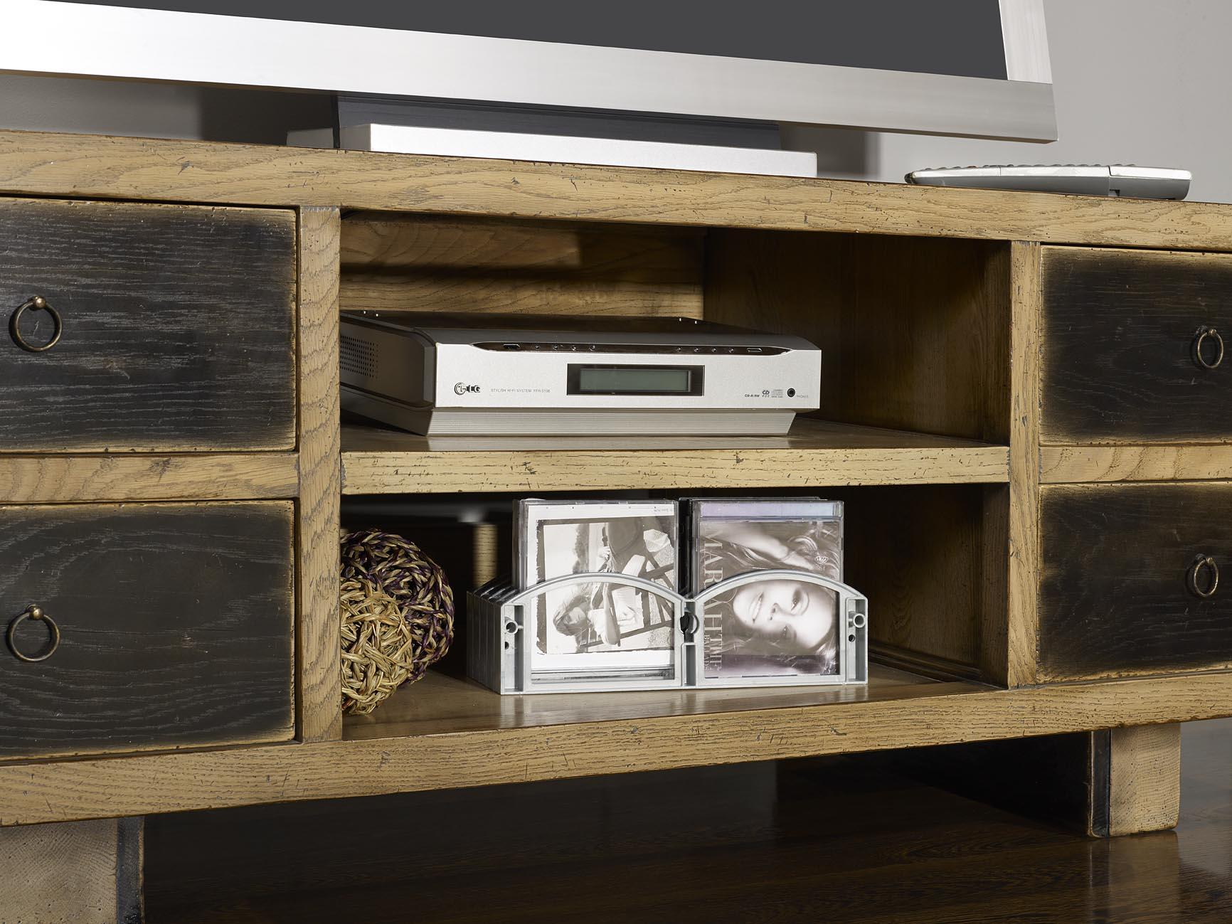 Assez Meuble TV vintage 4 tiroirs en Chêne Massif de style contemporain  DN33