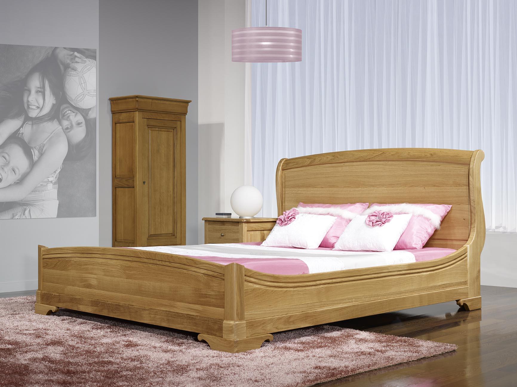 Lit jean baptiste 140x190 en ch ne massif de style louis philippe meuble en - Tete de lit en chene massif ...
