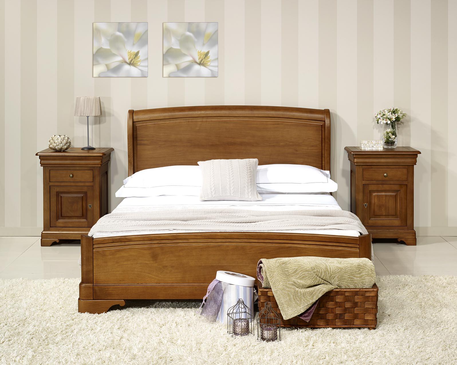 lit jean baptiste 140x190 en ch ne massif de style louis. Black Bedroom Furniture Sets. Home Design Ideas