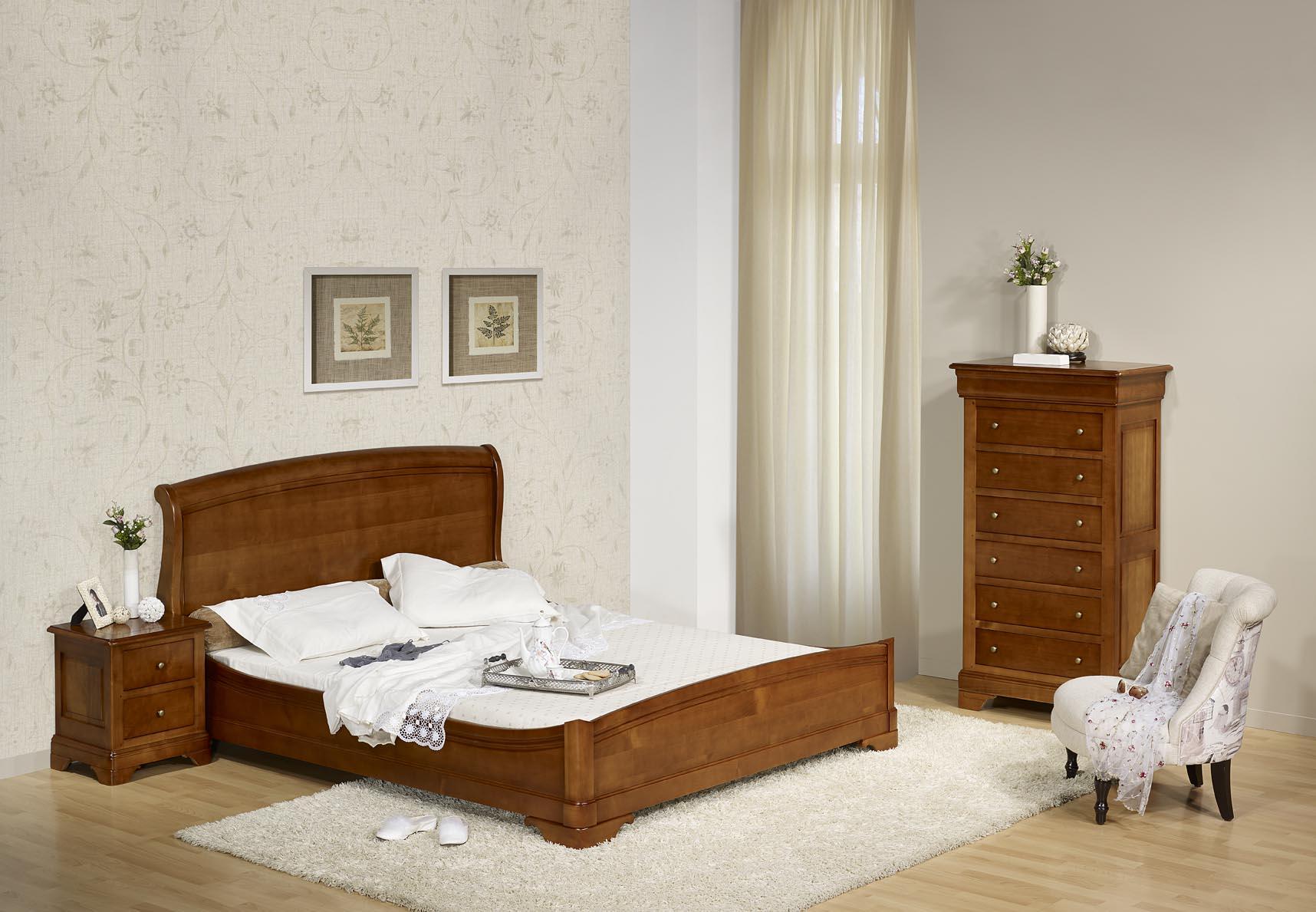 lit 160x200 en merisier massif de style louis philippe meuble en merisier massif. Black Bedroom Furniture Sets. Home Design Ideas