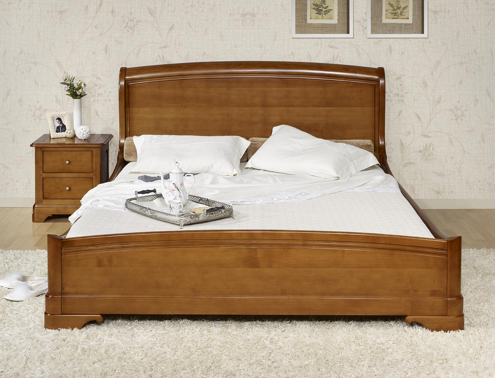Lit 160x200 en merisier massif de style louis philippe meuble en merisier massif - Tete de lit merisier 160 ...
