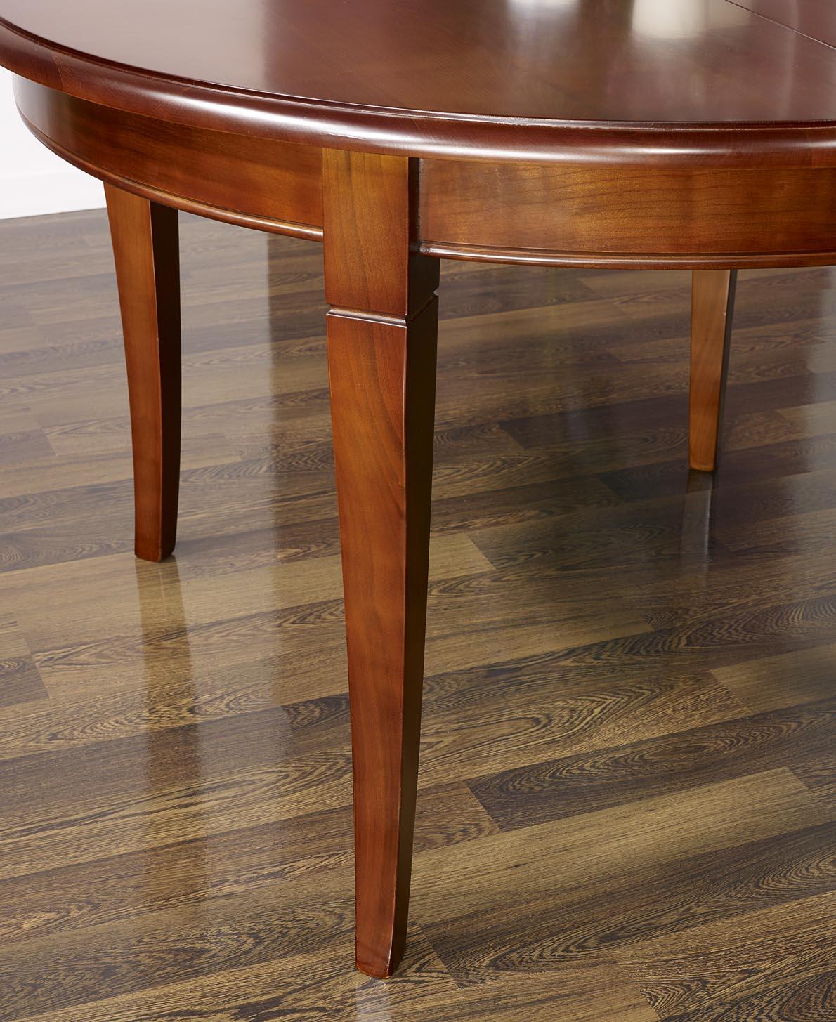 table ronde 4 pieds sabres en merisier massif de style louis philippe 3 allonges de 40 - Table Merisier Massif